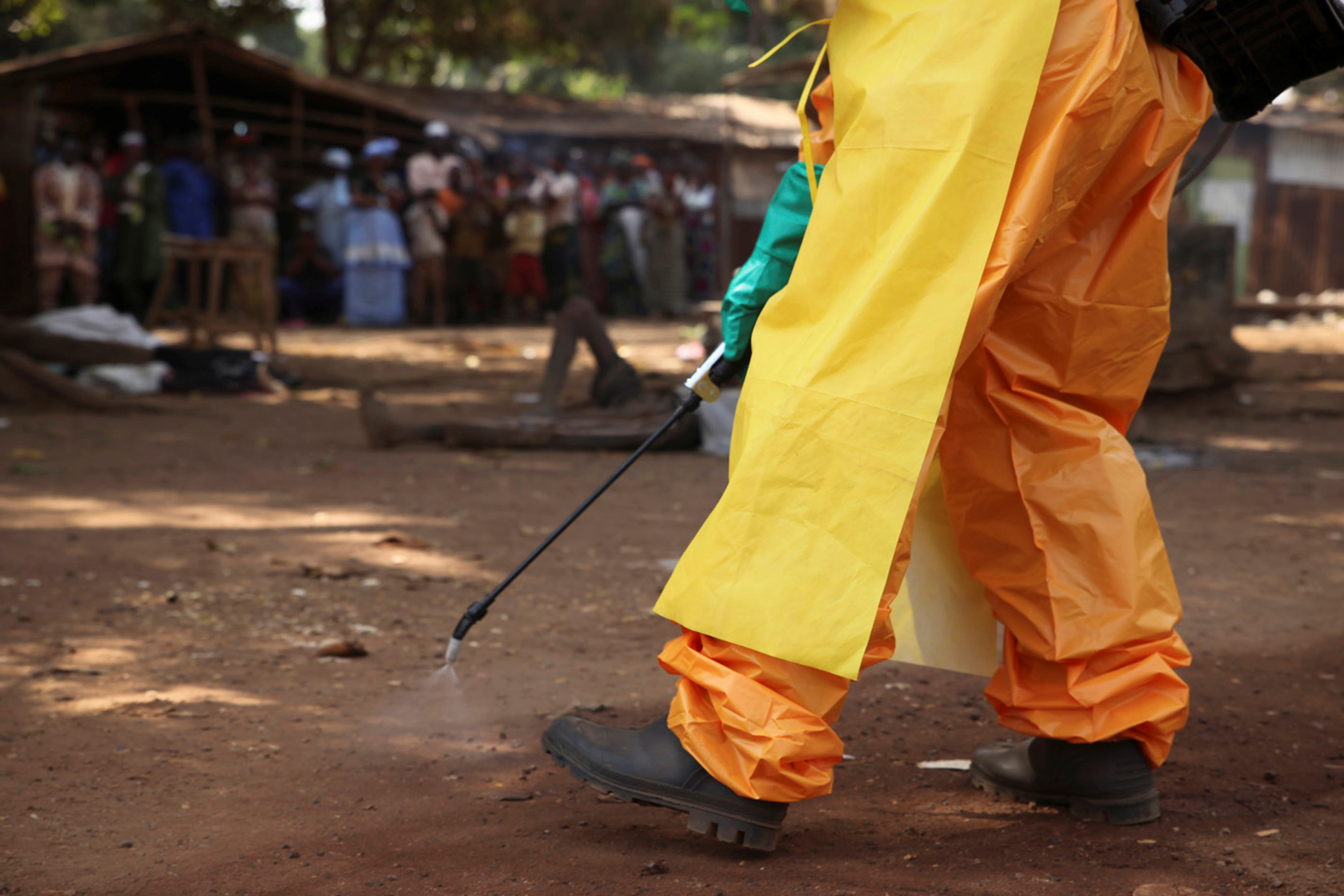 A member of the French Red Cross disinfects the area around a motionless person suspected of carrying the Ebola virus as a crowd gathers in Forecariah, Guinea, January 30, 2015. REUTERS/Misha Hussain/File Photo
