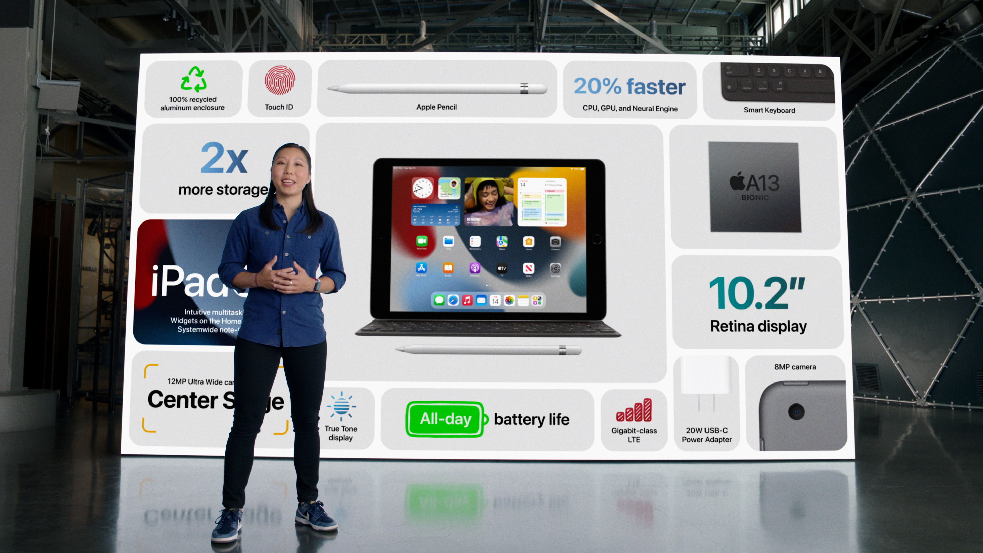 Apple's Melody Kuna talks about the enhanced features of the new iPad during a special event at Apple Park in Cupertino, California broadcast September 14, 2021 in a still image from video. Apple Inc/Handout via REUTERS