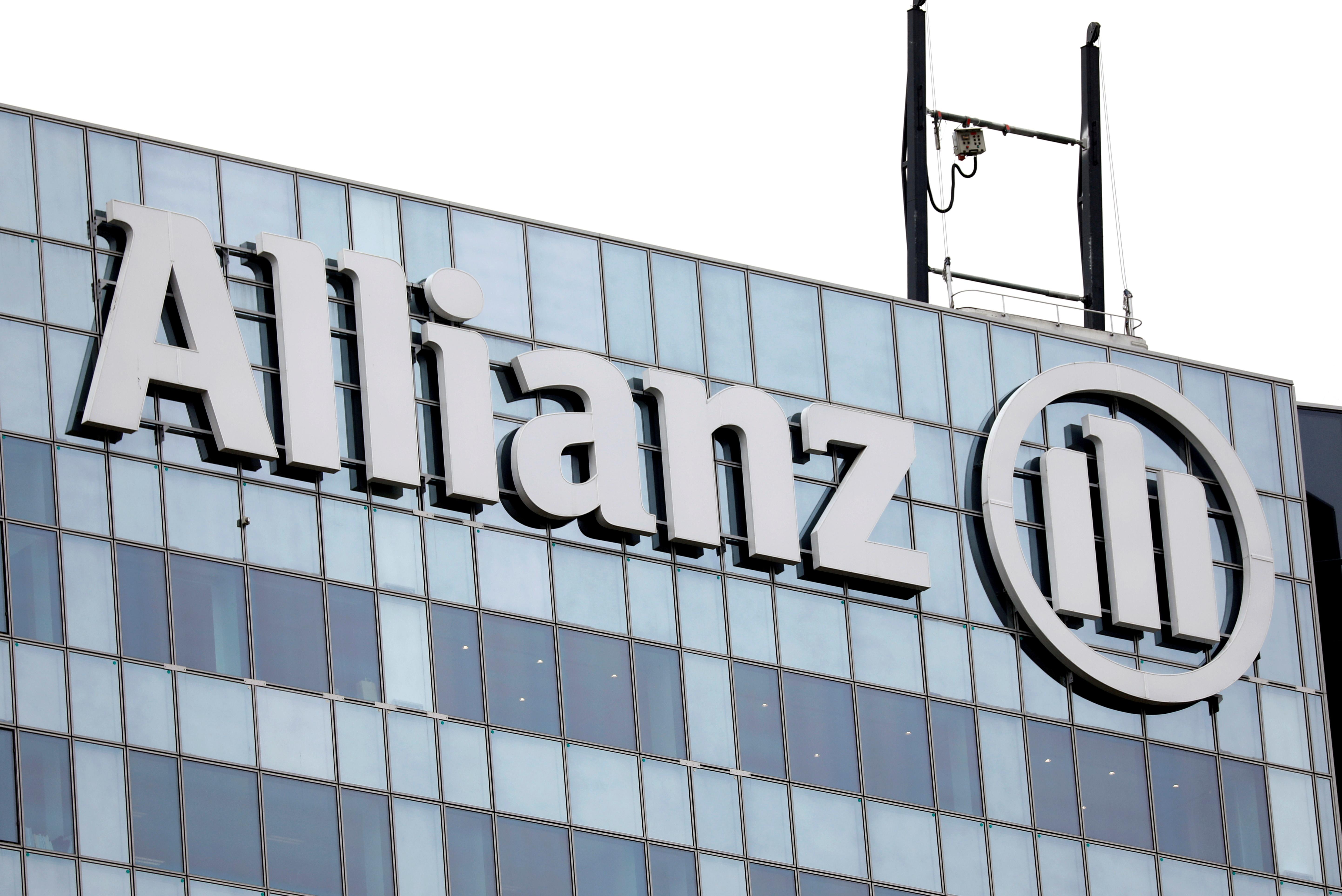 The logo of insurer Allianz SE in Puteaux in La Defense outside Paris, France, May 14, 2018. REUTERS/Charles Platiau