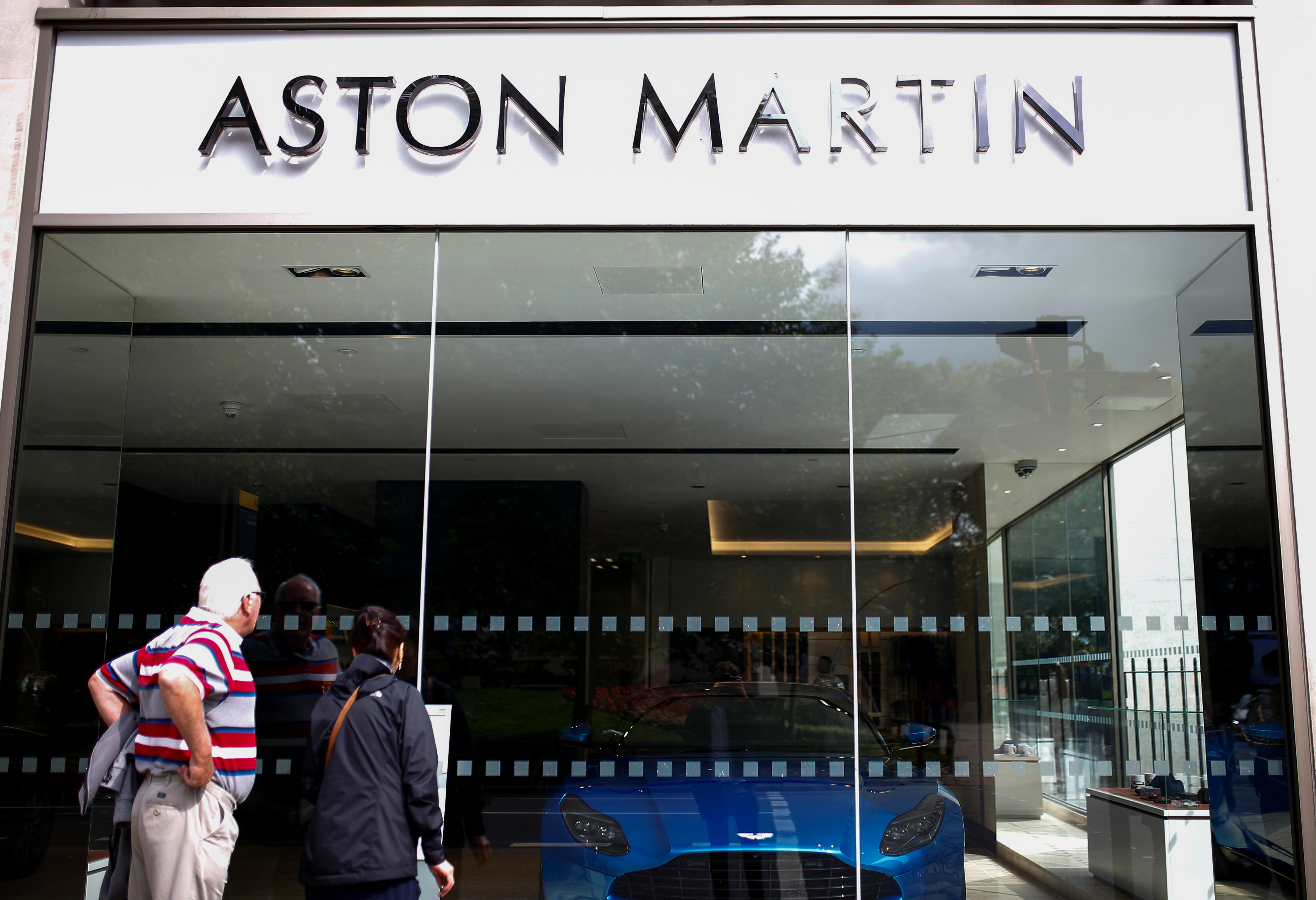 An Aston Martin logo is seen at a dealership in central London, Britain August 29, 2018. REUTERS/Henry Nicholls/File photo