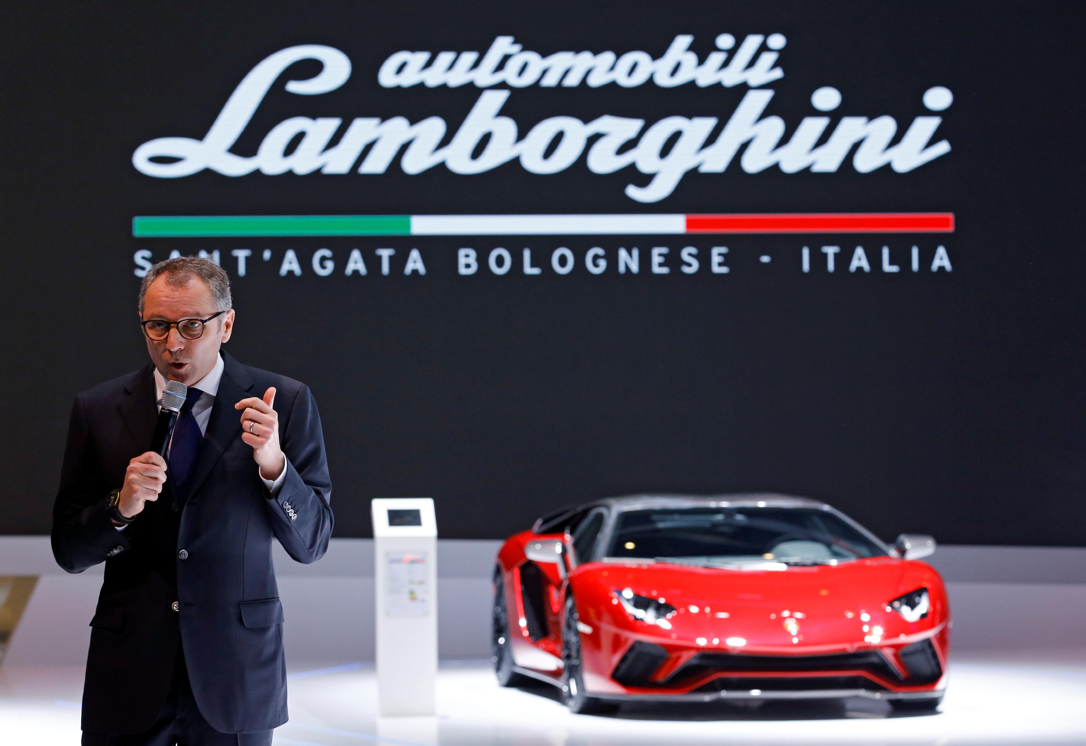 Automobili Lamborghini CEO Stefano Domenicali speaks during a presentation at the 88th International Motor Show at Palexpo in Geneva, Switzerland, March 6, 2018.  REUTERS/Denis Balibouse