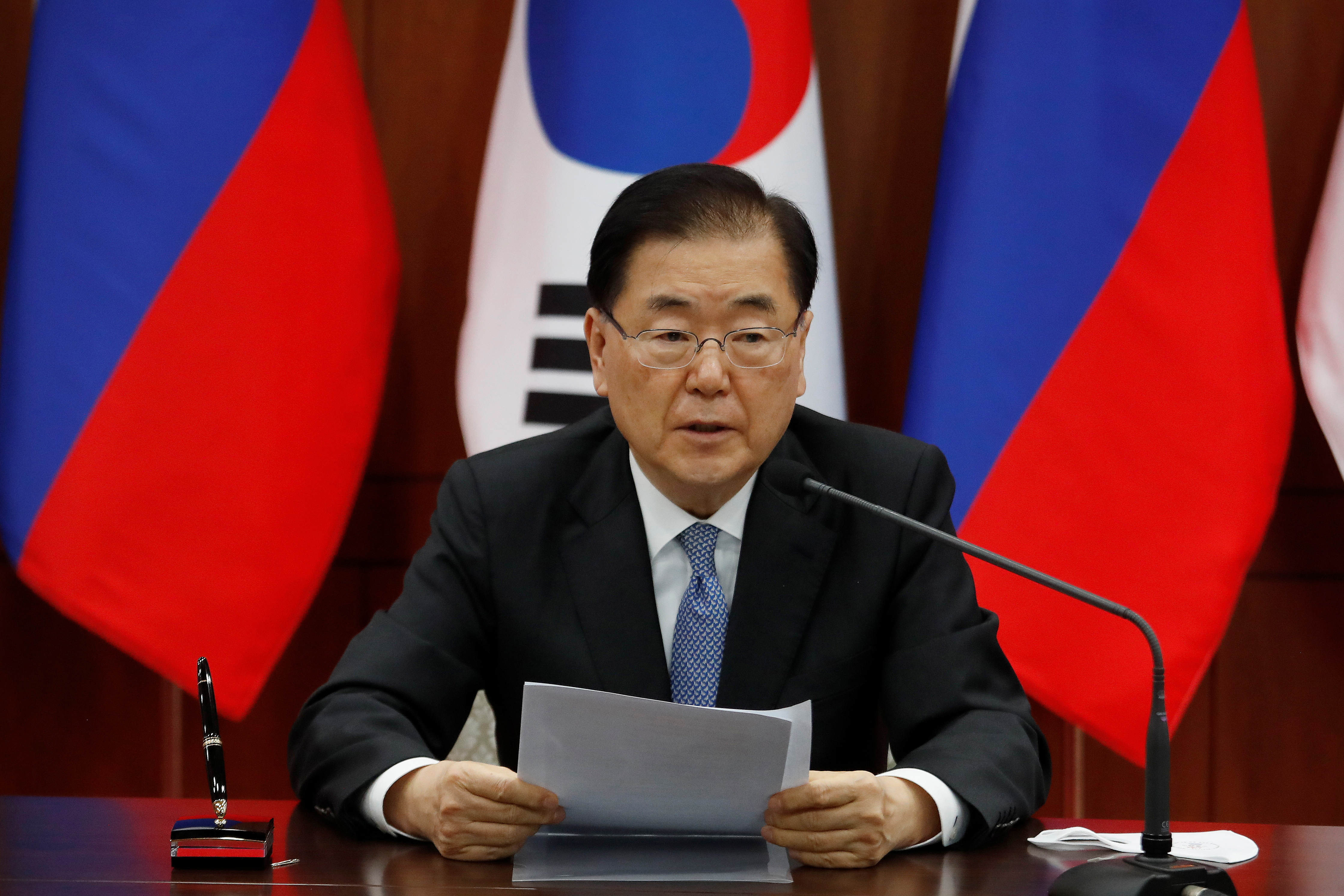 South Korean Foreign Minister Chung Eui-yong speaks during a joint announcement with Russian Foreign Minister Sergei Lavrov at the Foreign Ministry in Seoul, South Korea, March 25, 2021. Ahn Young-joon/Pool via REUTERS