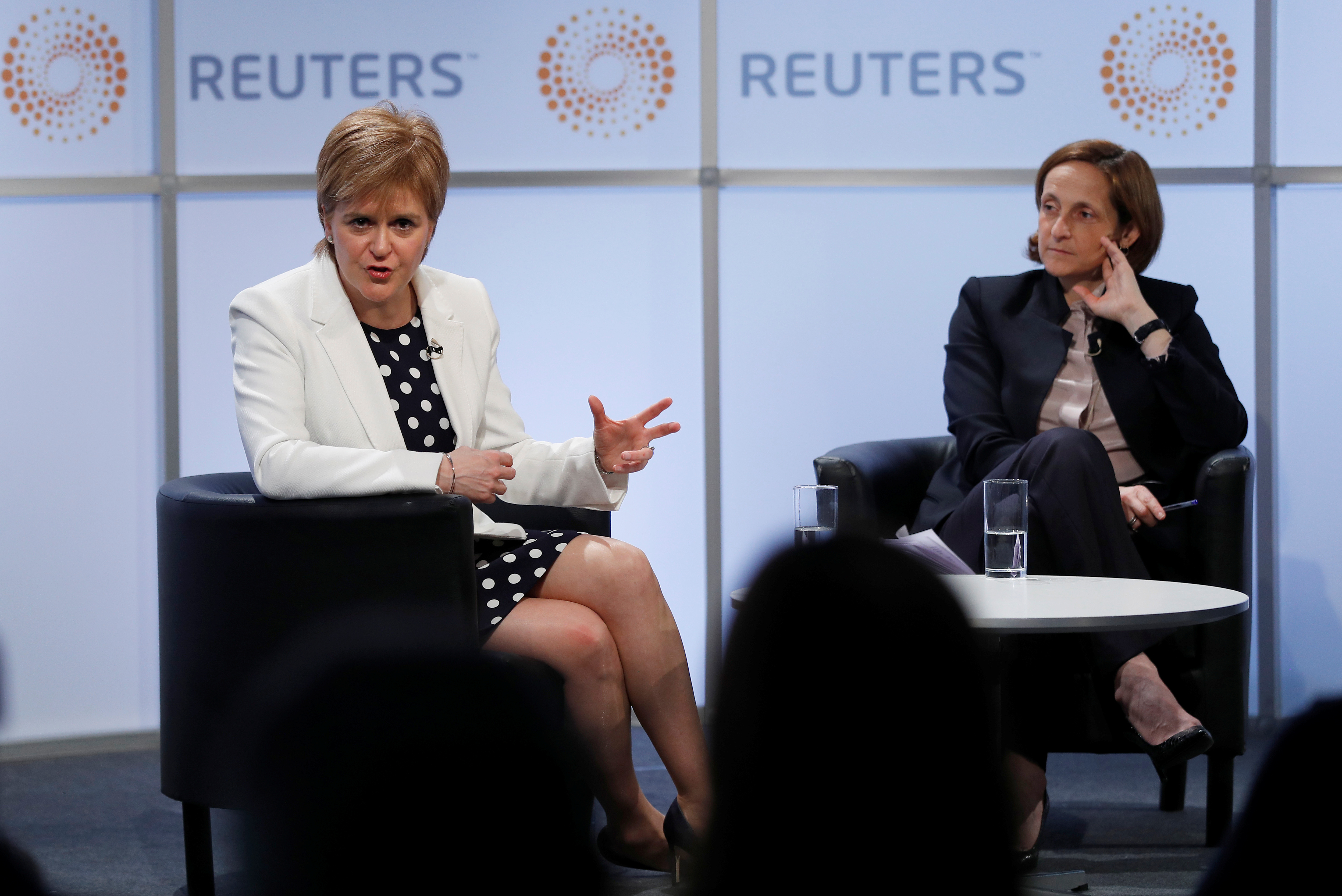 Scotland's First Minister, Nicola Sturgeon, speaks at a Reuters Newsmaker event, hosted by Reuters Global Editor, Alessandra Galloni, in London, Britain May 14, 2018. REUTERS/Peter Nicholls