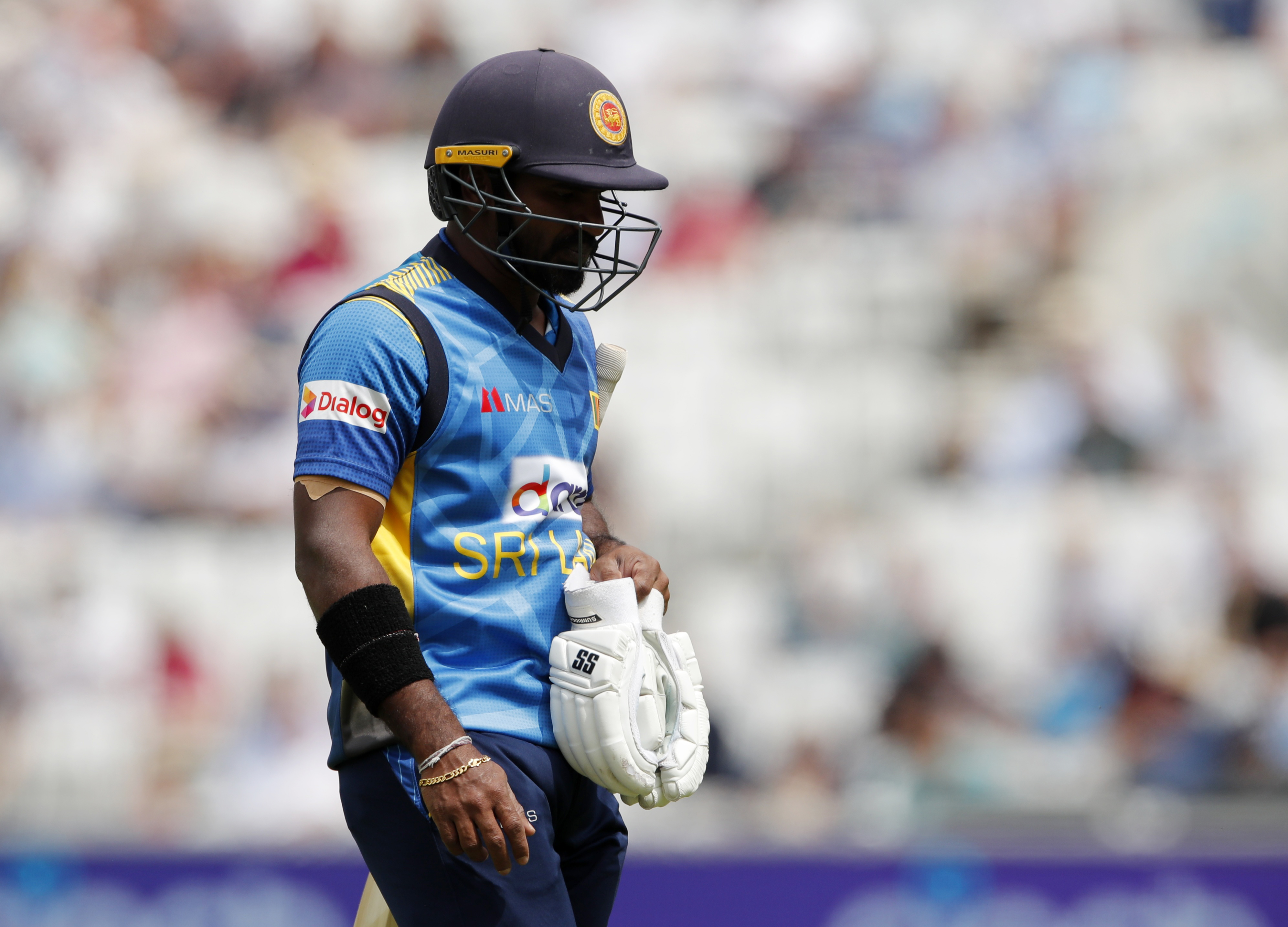 Cricket - Second One Day International - England v Sri Lanka - Kia Oval, London, Britain - July 1, 2021 Sri Lanka's Kusal Perera looks dejected after losing his wicket Action Images via Reuters/Andrew Couldridge