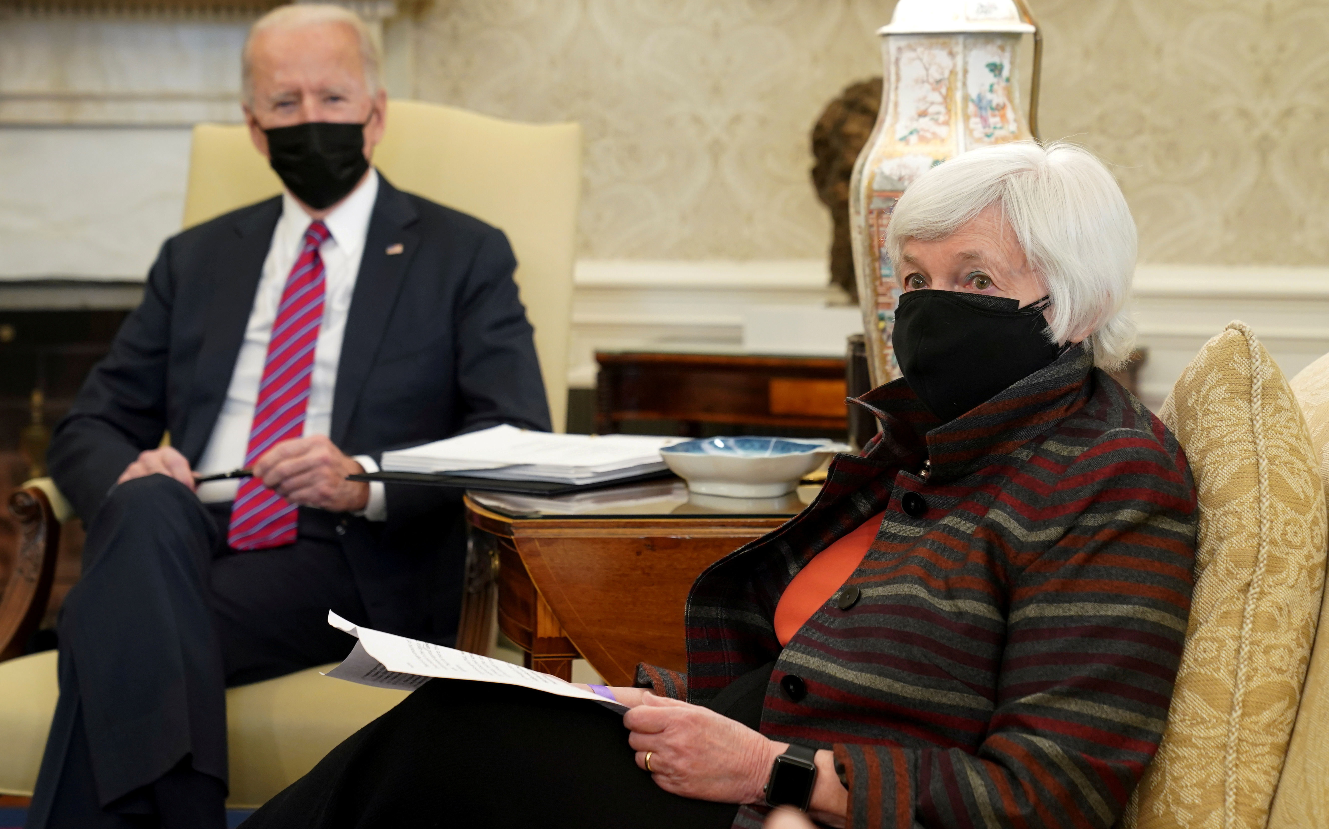 U.S. President Joe Biden meets with Treasury Secretary Janet Yellen in the Oval Office at the White House in Washington, U.S., January 29, 2021. REUTERS/Kevin Lamarque