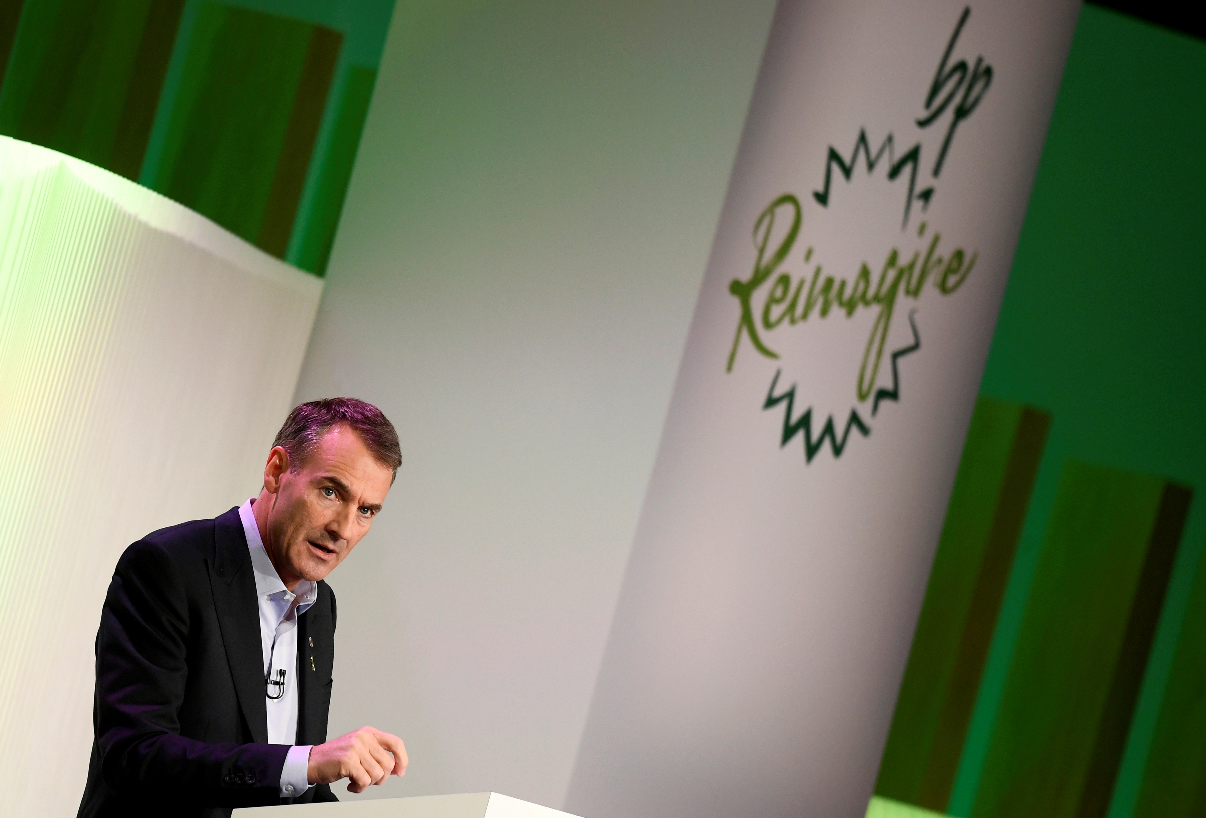 BP's new Chief Executive Bernard Looney gives a speech in central London, Britain February 12, 2020. REUTERS/Toby Melville