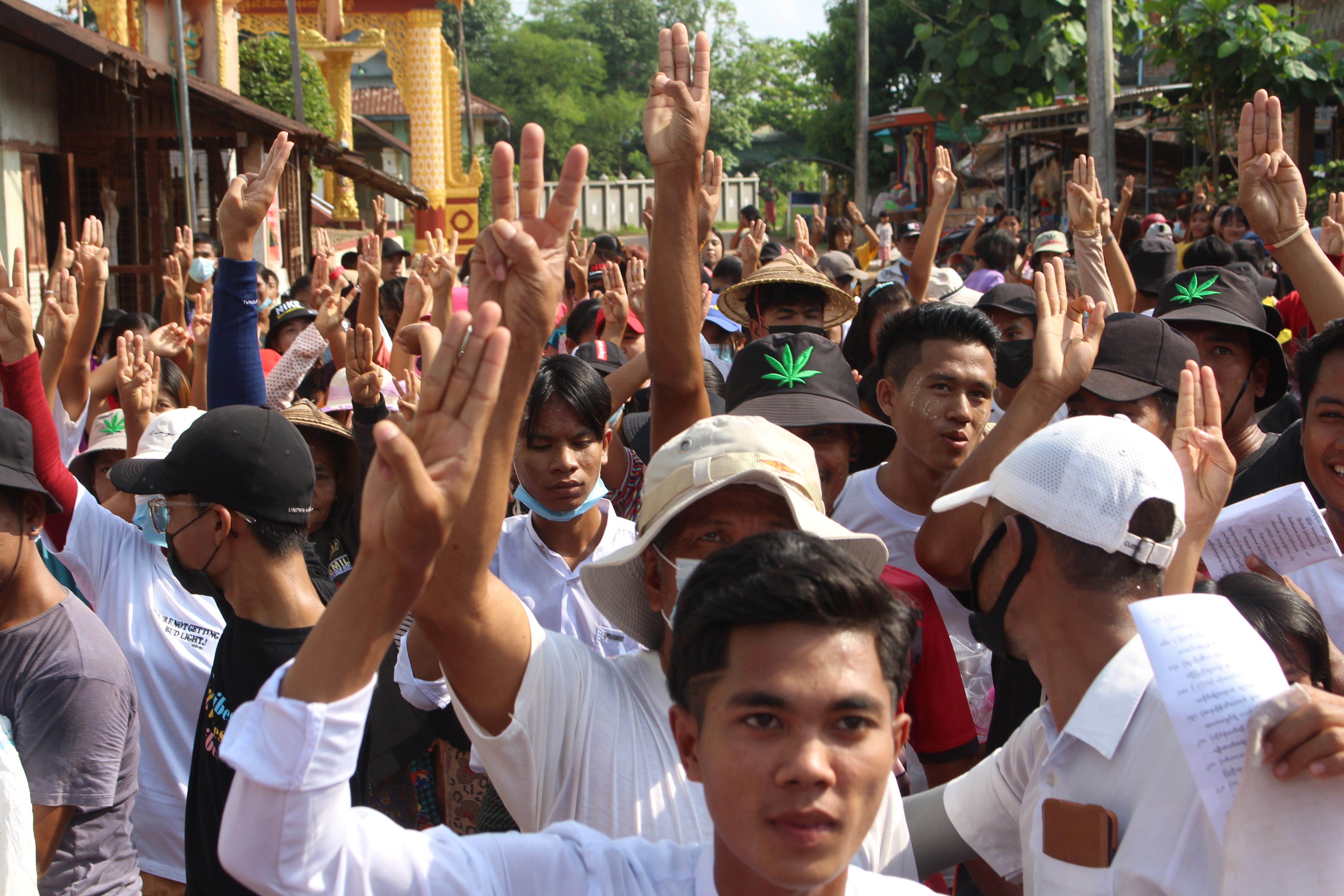 People attend a protest against Myanmar's military coup in Launglon, Myanmar April 23, 2021 in this picture obtained by Reuters. DAWEI WATCH via REUTERS