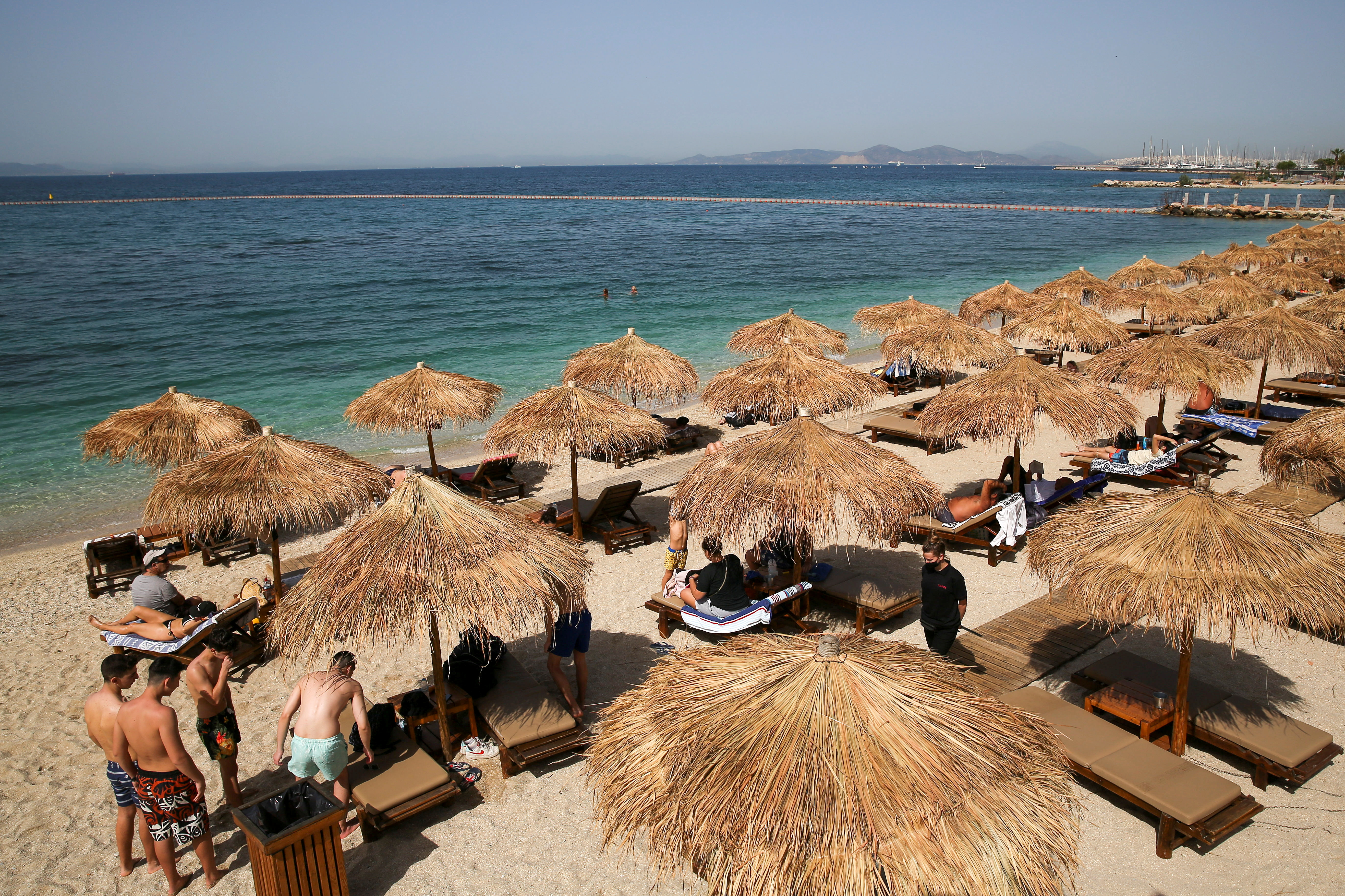 A general view of a beach during the official reopening of beaches to the public, following the easing of measures against the spread of the coronavirus disease (COVID-19), in Athens, Greece, May 8, 2021. REUTERS/Costas Baltas