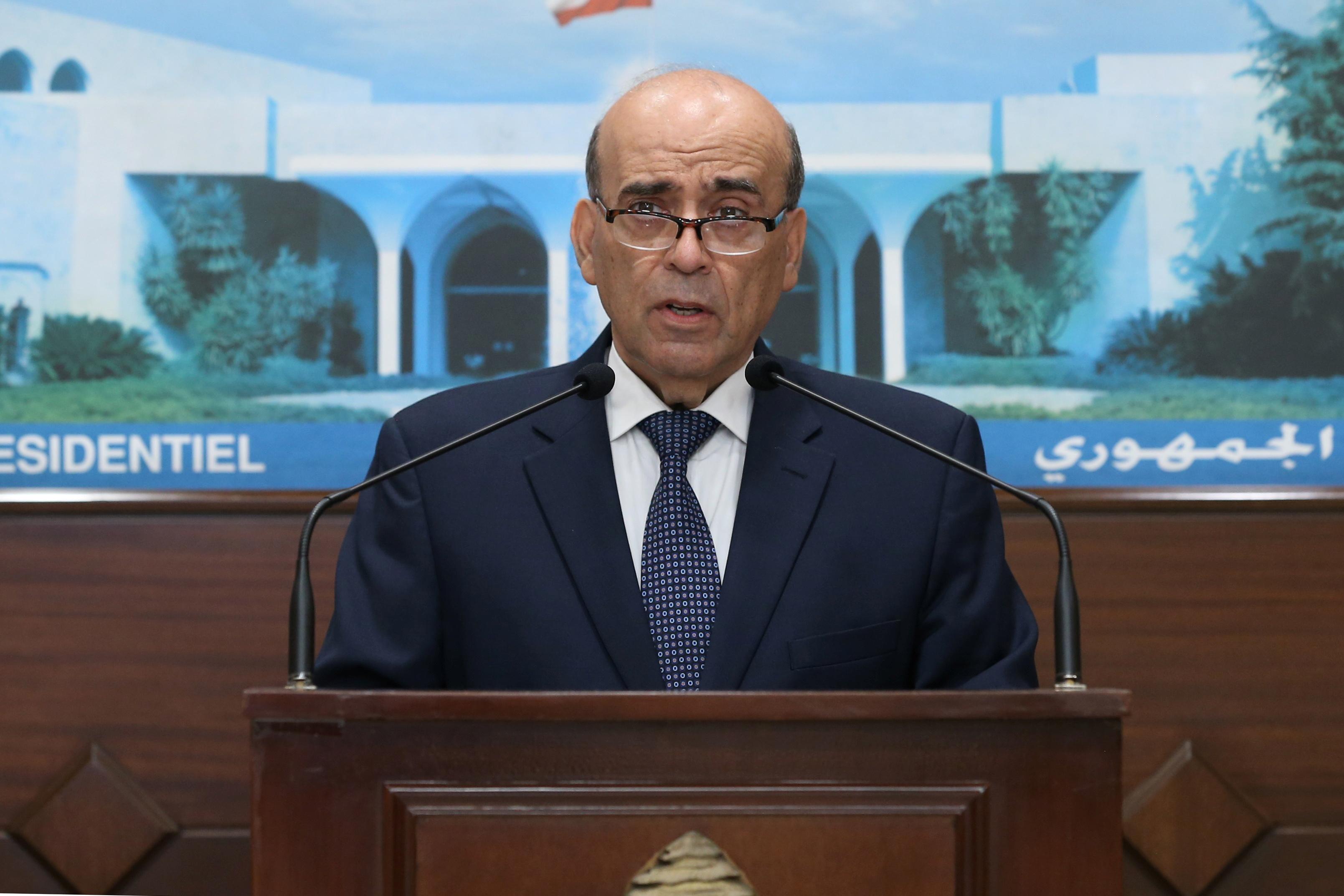 Charbel Wehbe, Lebanon's caretaker foreign minister, talks at the presidential palace in Baabda, Lebanon, May 19, 2021. Dalati Nohra/Handout via REUTERS