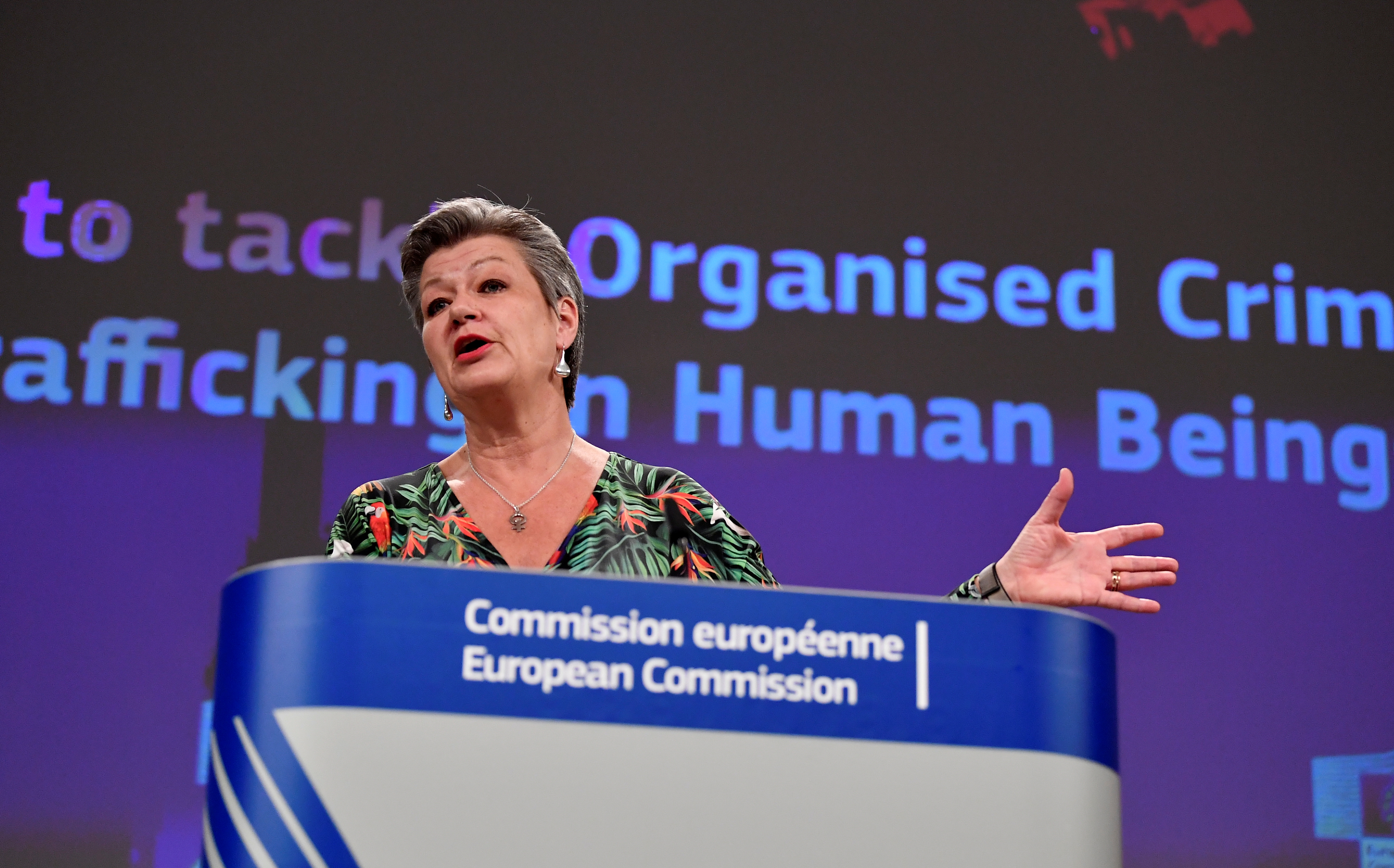 European Commissioner for Home Affairs Ylva Johansson speaks during a news conference at the EU headquarters in Brussels, Belgium April 14, 2021. John Thys/Pool via REUTERS