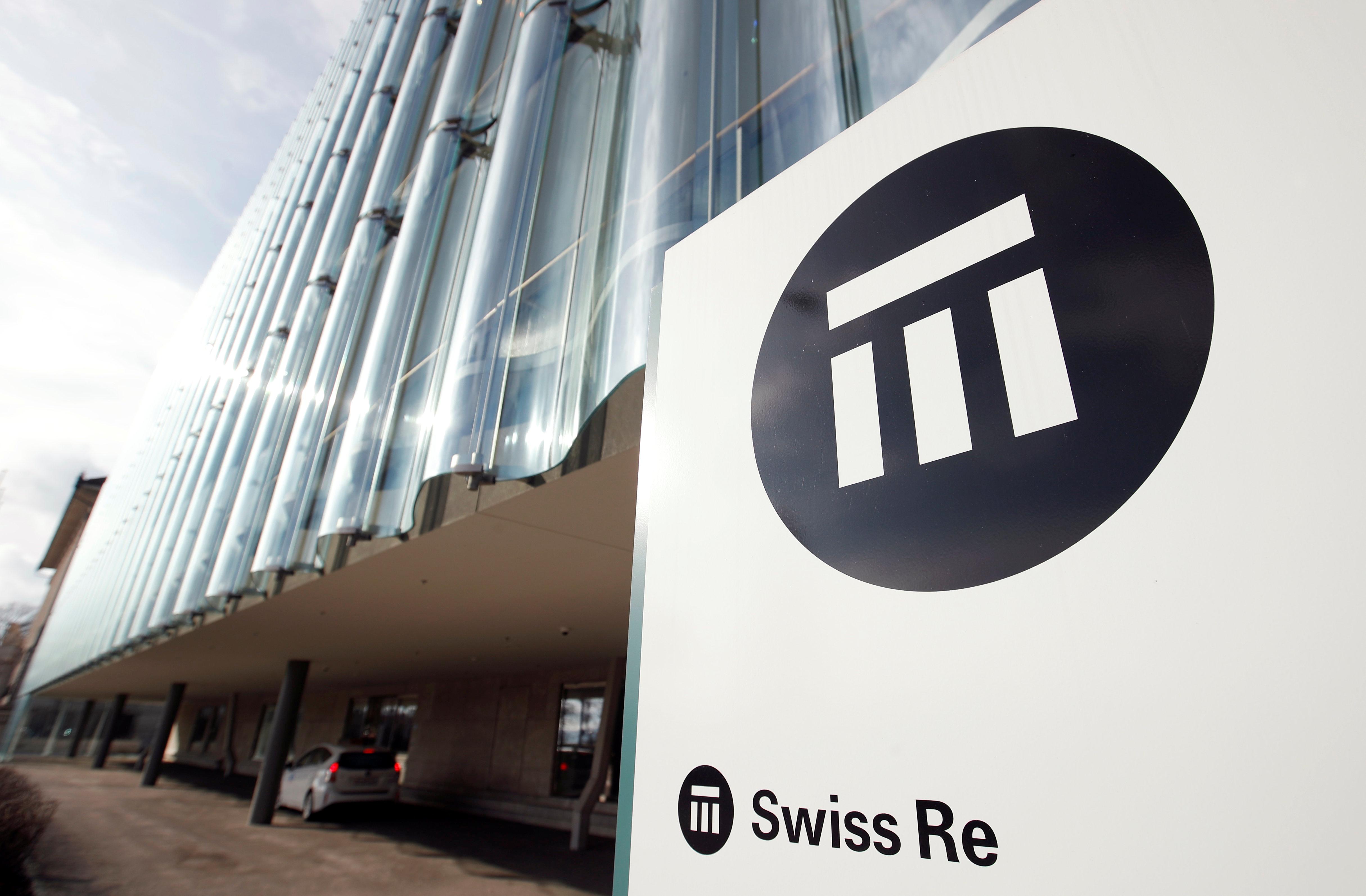 The logo of insurance company Swiss Re is seen in front of its headquarters in Zurich, Switzerland February 12, 2019.  REUTERS/Arnd WIegmann