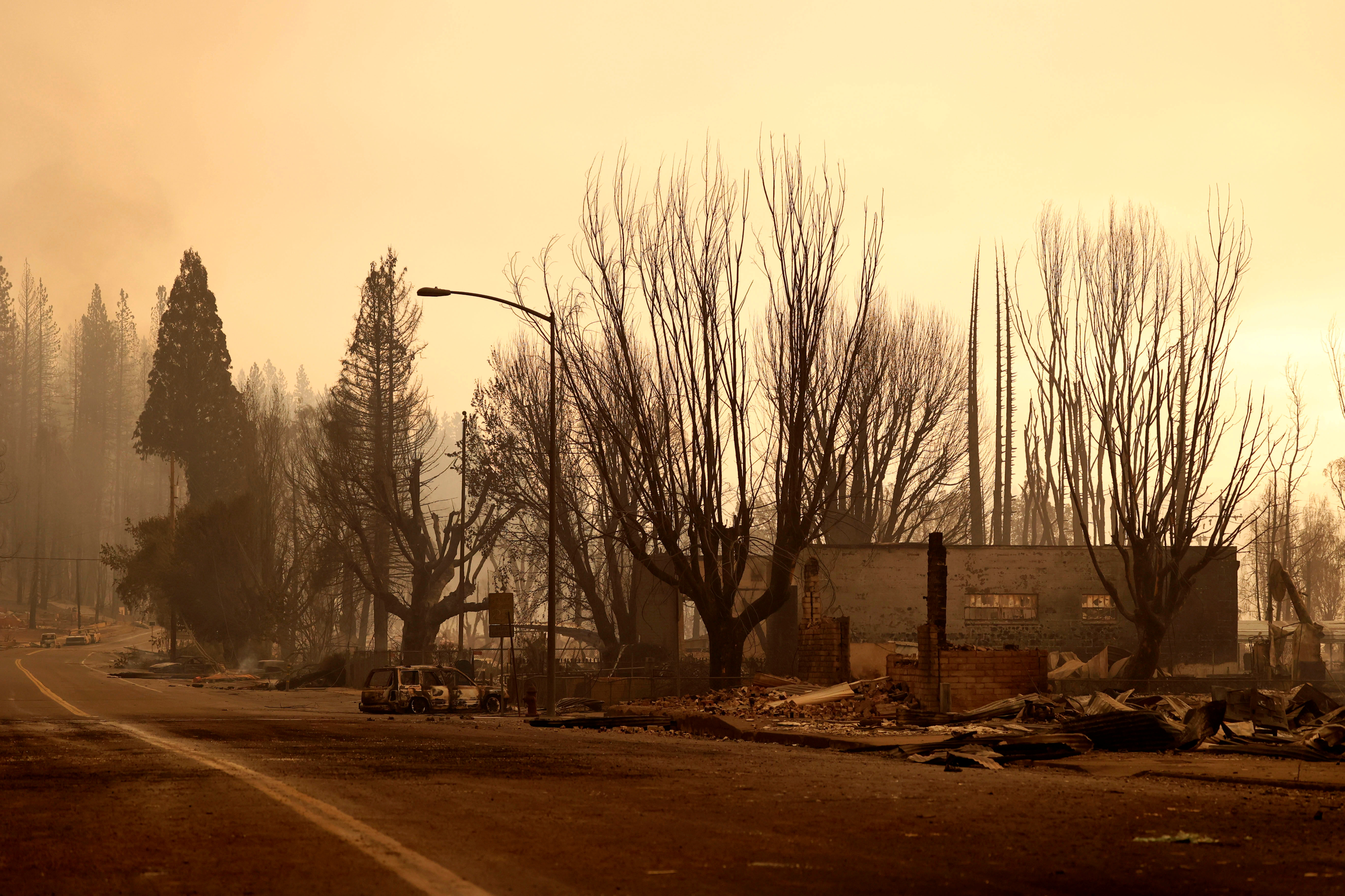 View of burned buildings and trees following the Dixie Fire, a wildfire that tore through the town of Greenville, California, U.S. August 5, 2021. REUTERS/Fred Greaves