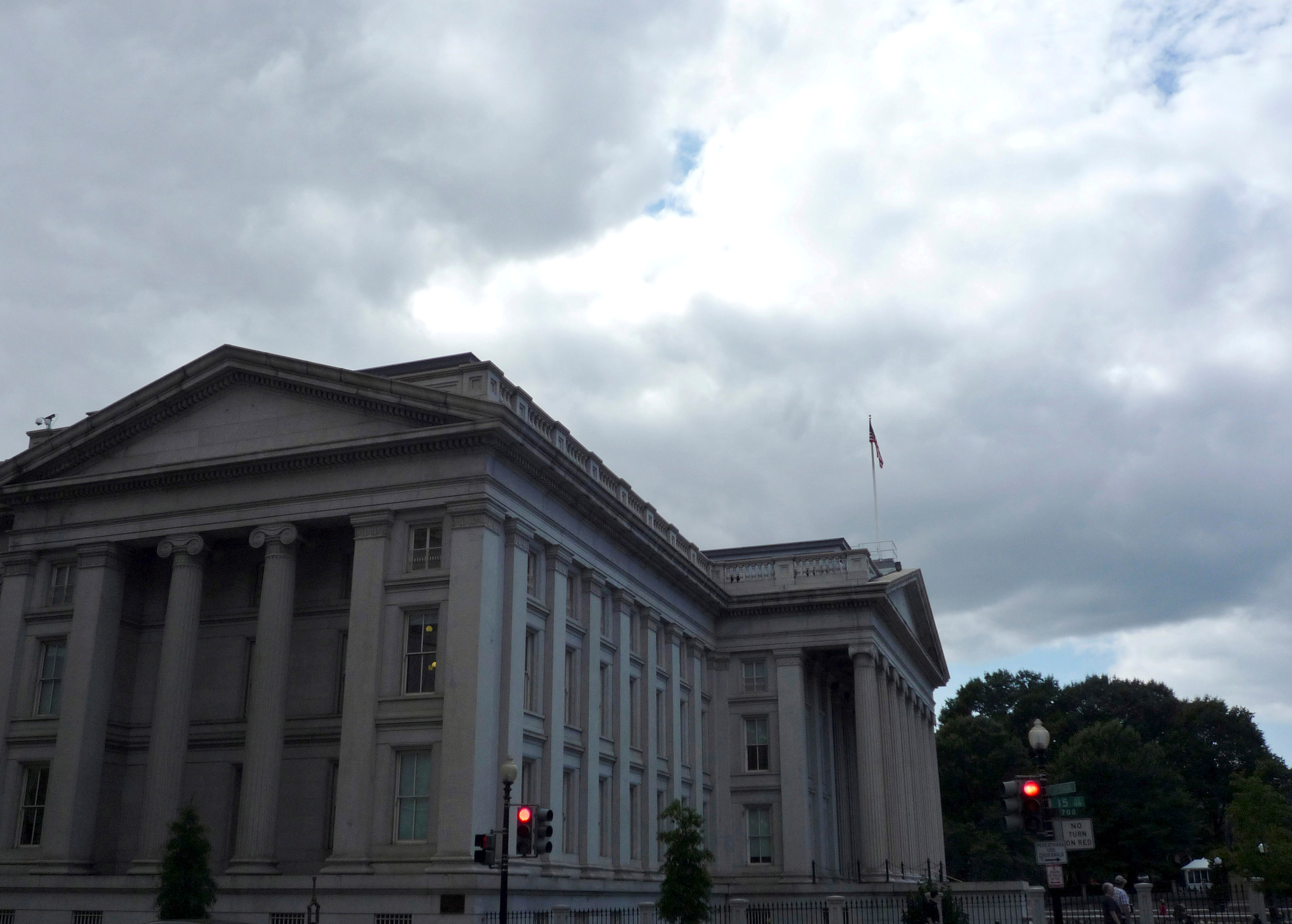 The U.S. Treasury building is seen in Washington, September 29, 2008. REUTERS/Jim Bourg/File Photo