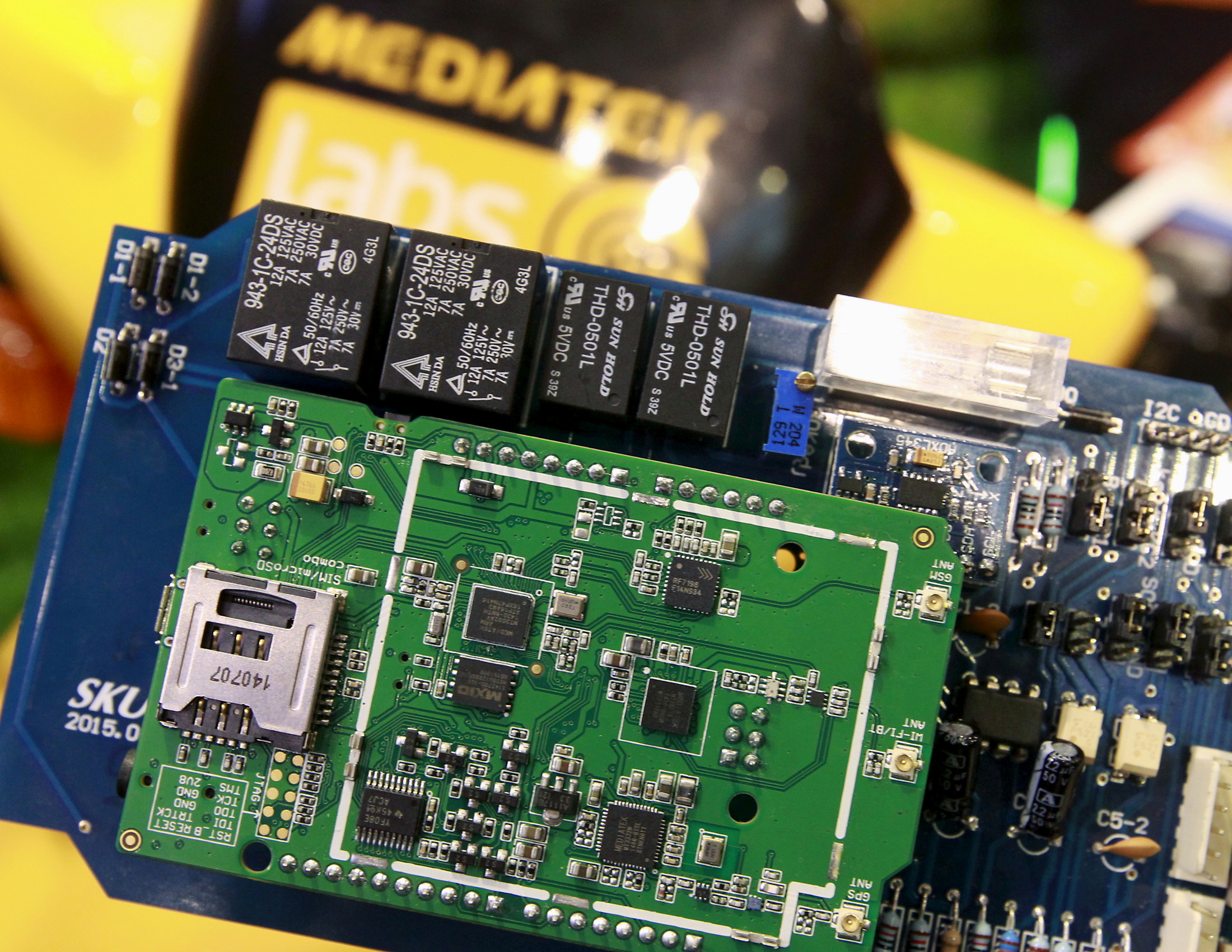 MediaTek chips are seen on a development board at the MediaTek booth during the 2015 Computex exhibition in Taipei, Taiwan, June 3, 2015. Computex, the world's second largest computer show, runs from June 2 to 6. REUTERS/Pichi Chuang/File Photo