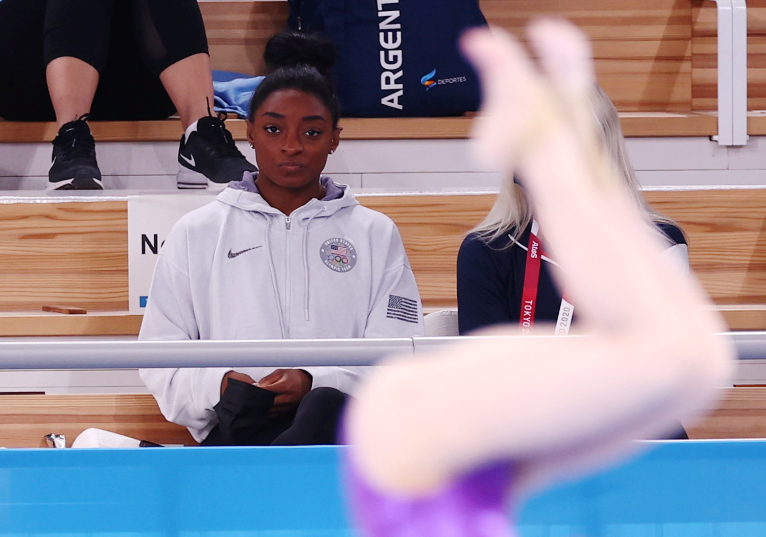 Tokyo 2020 Olympics - Gymnastics - Artistic - Women's All-Around - Final - Ariake Gymnastics Centre, Tokyo, Japan - July 29, 2021. Simone Biles of the United States watches from the stands. REUTERS/Mike Blake