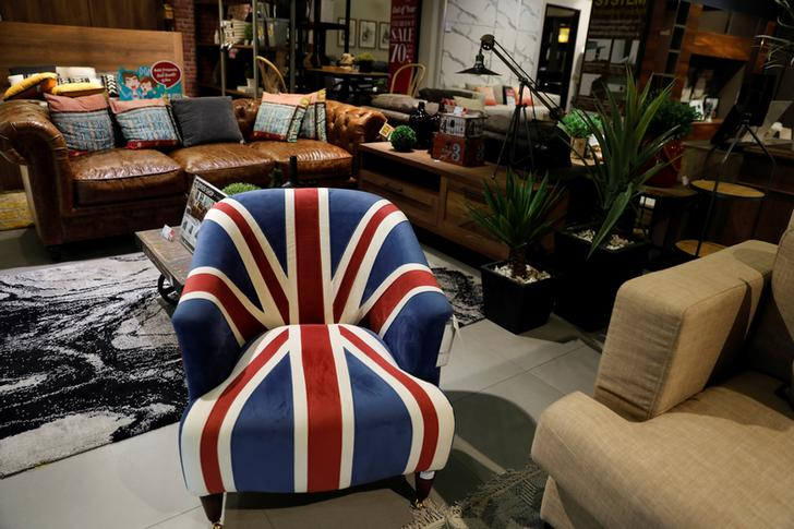 An armchair with a Union Jack pattern is seen in Bangkok, Thailand, December 12, 2018.