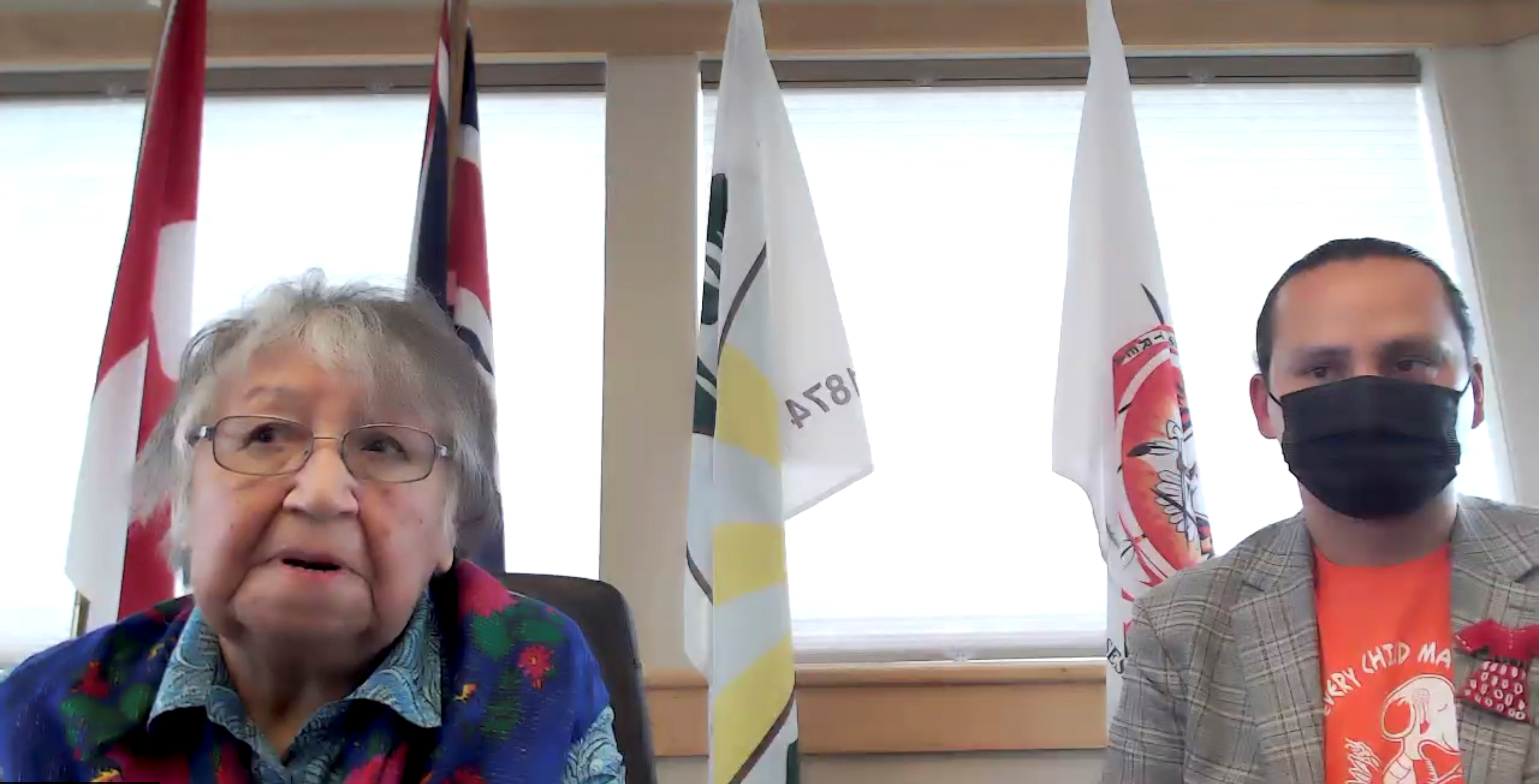 Cowessess First Nation Elder Florence Sparvier and Chief Cadmus Delorme discuss the discovery of the unmarked graves of hundreds of people, in a still image from a videoconference in Grayson, Saskatchewan, Canada June 24, 2021.  Federation of Sovereign Indigenous Nations/Handout via REUTERS