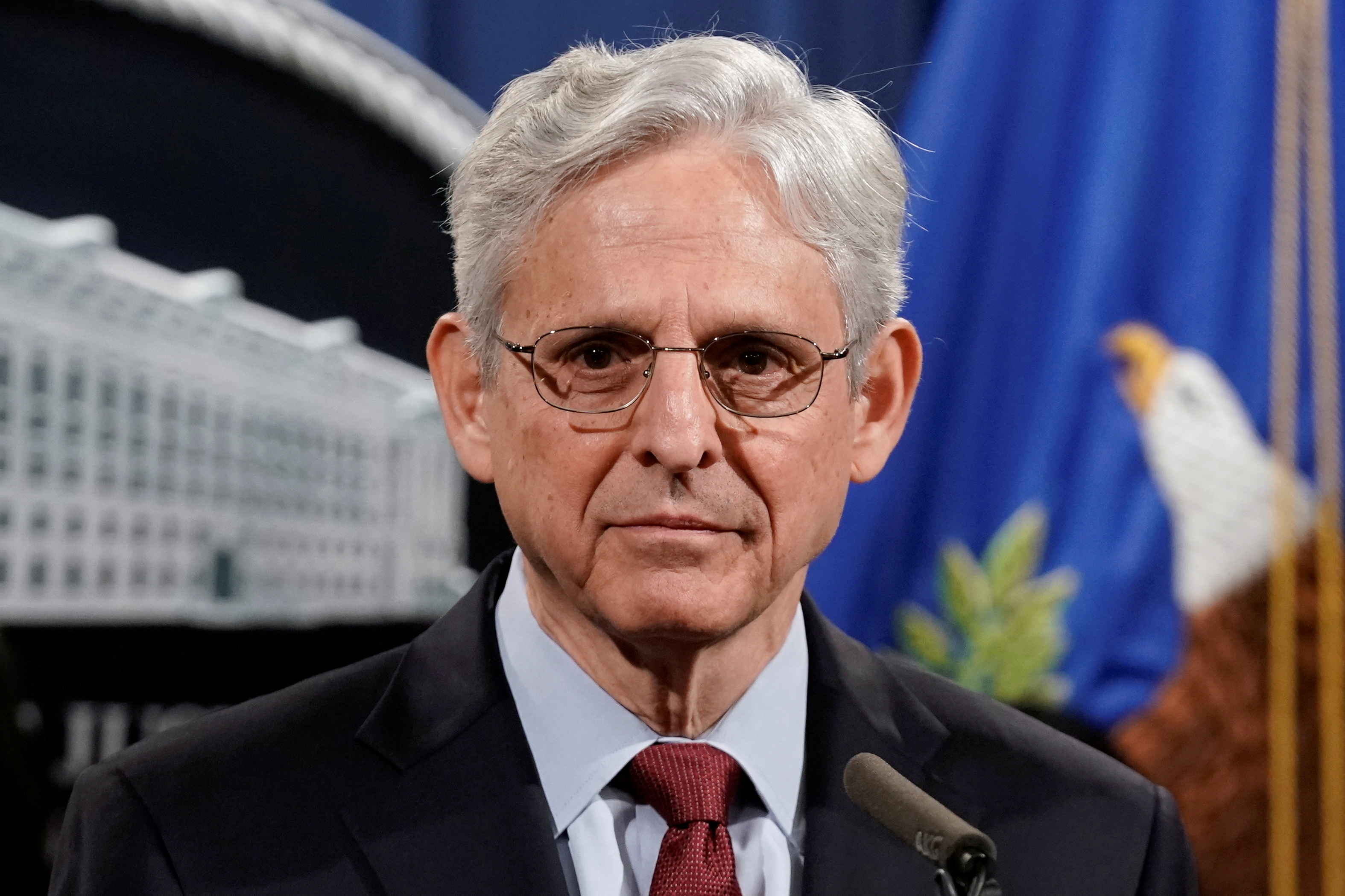 U.S. Attorney General Merrick Garland looks on as he announces that the Justice Department will file a lawsuit challenging a Georgia election law that imposes new limits on voting, during a news conference at the Department of Justice in Washington, D.C., U.S., June 25, 2021. REUTERS/Ken Cedeno/File Photo
