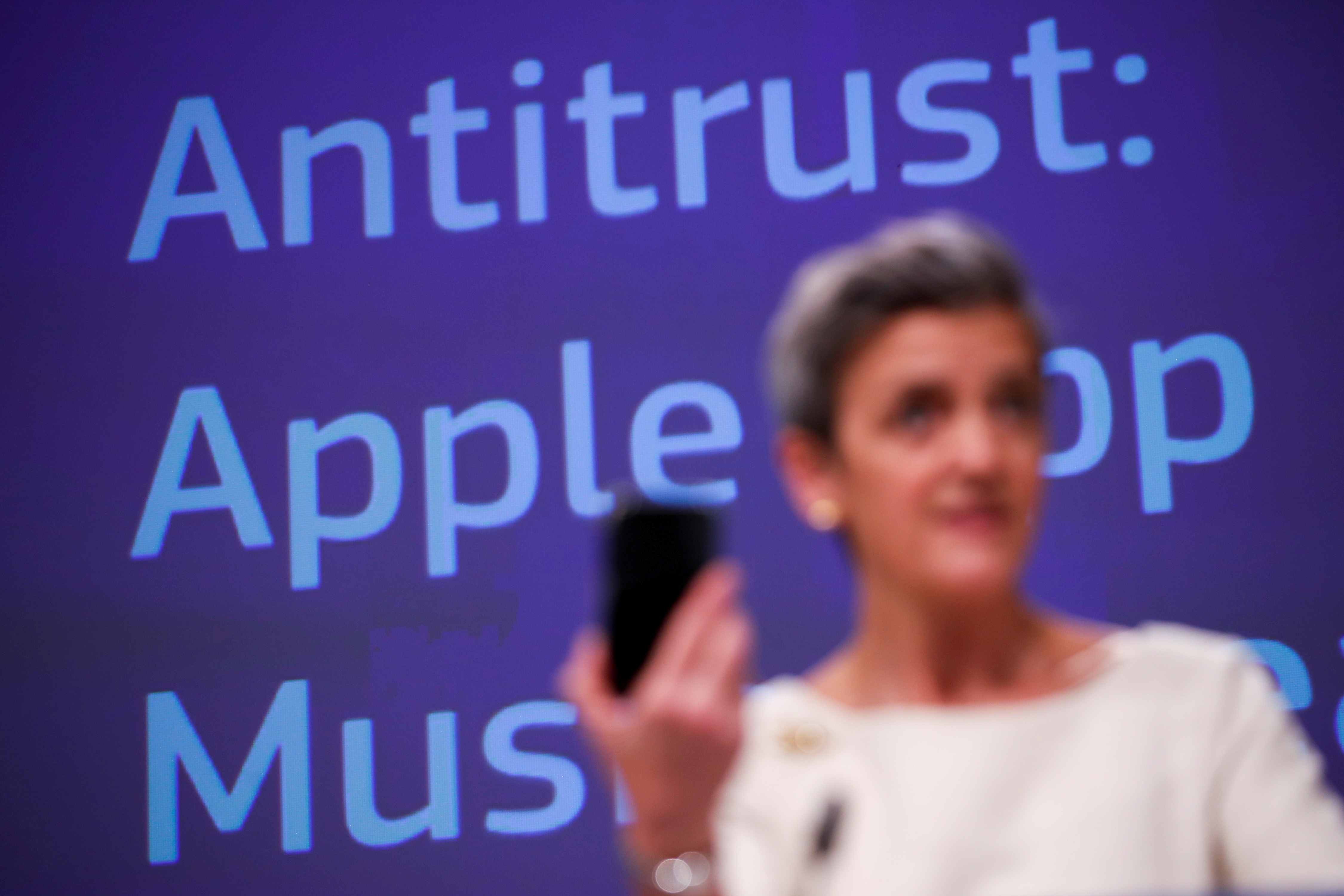 European Commissioner for Europe fit for the Digital Age Margrethe Vestager speaks during an online news conference on Apple anti trust case at the EU headquarters in Brussels, Belgium April 30, 2021. Francisco Seco/Pool via REUTERS/File Photo