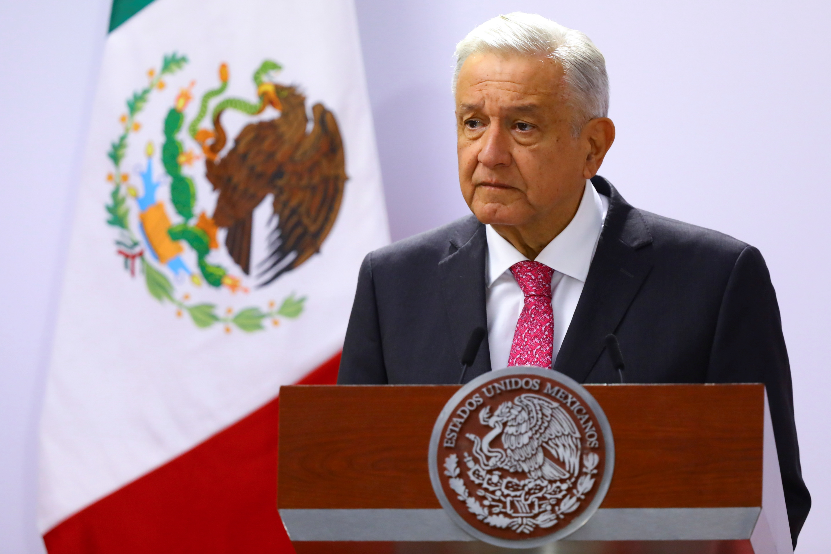 Mexico's President Andres Manuel Lopez Obrador delivers a speech on the third anniversary of his presidential election victory at National Palace in Mexico City, Mexico July 1, 2021. REUTERS/Edgard Garrido