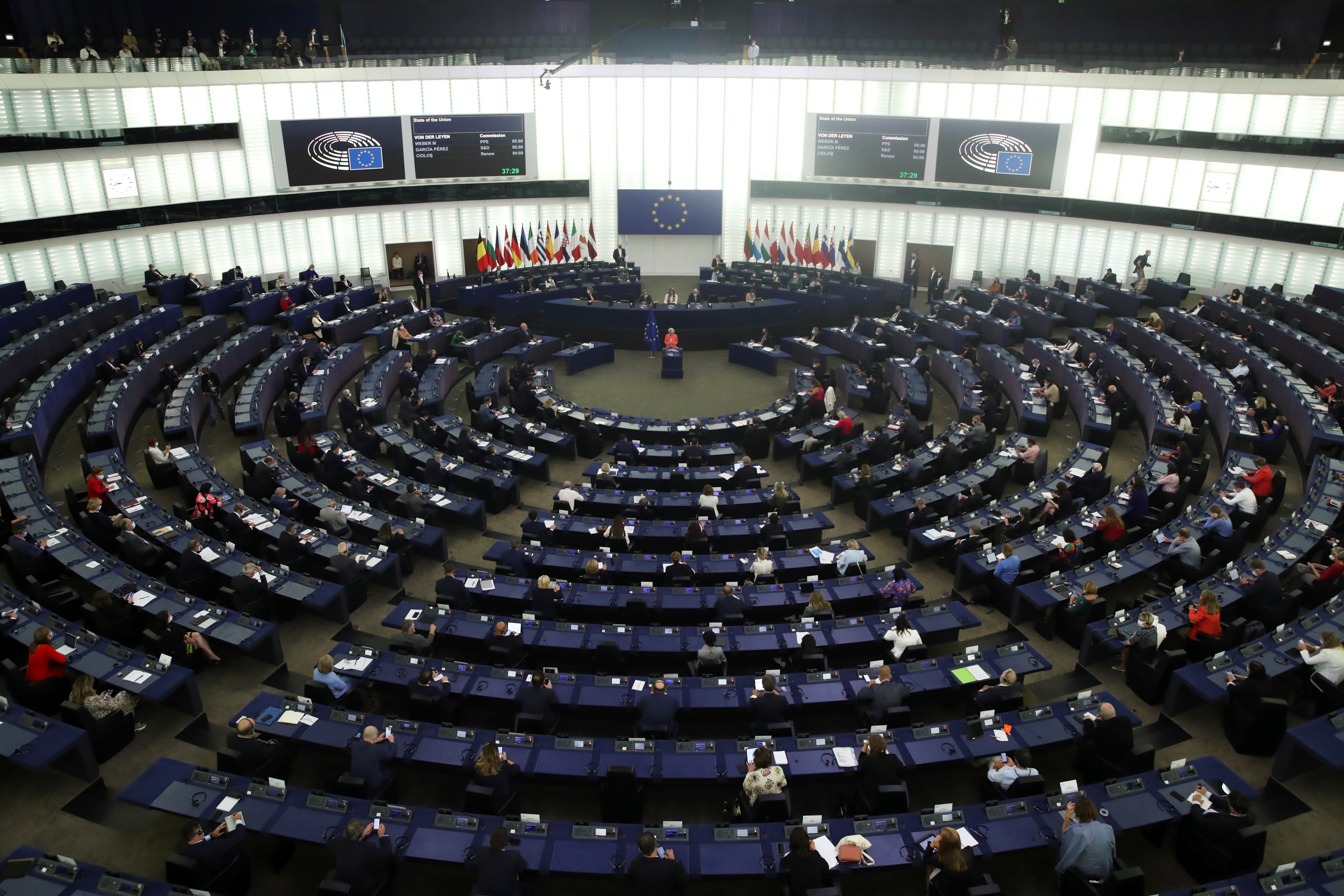 General view of the plenary hall as European Commission President Ursula von der Leyen delivers a speech during a debate on