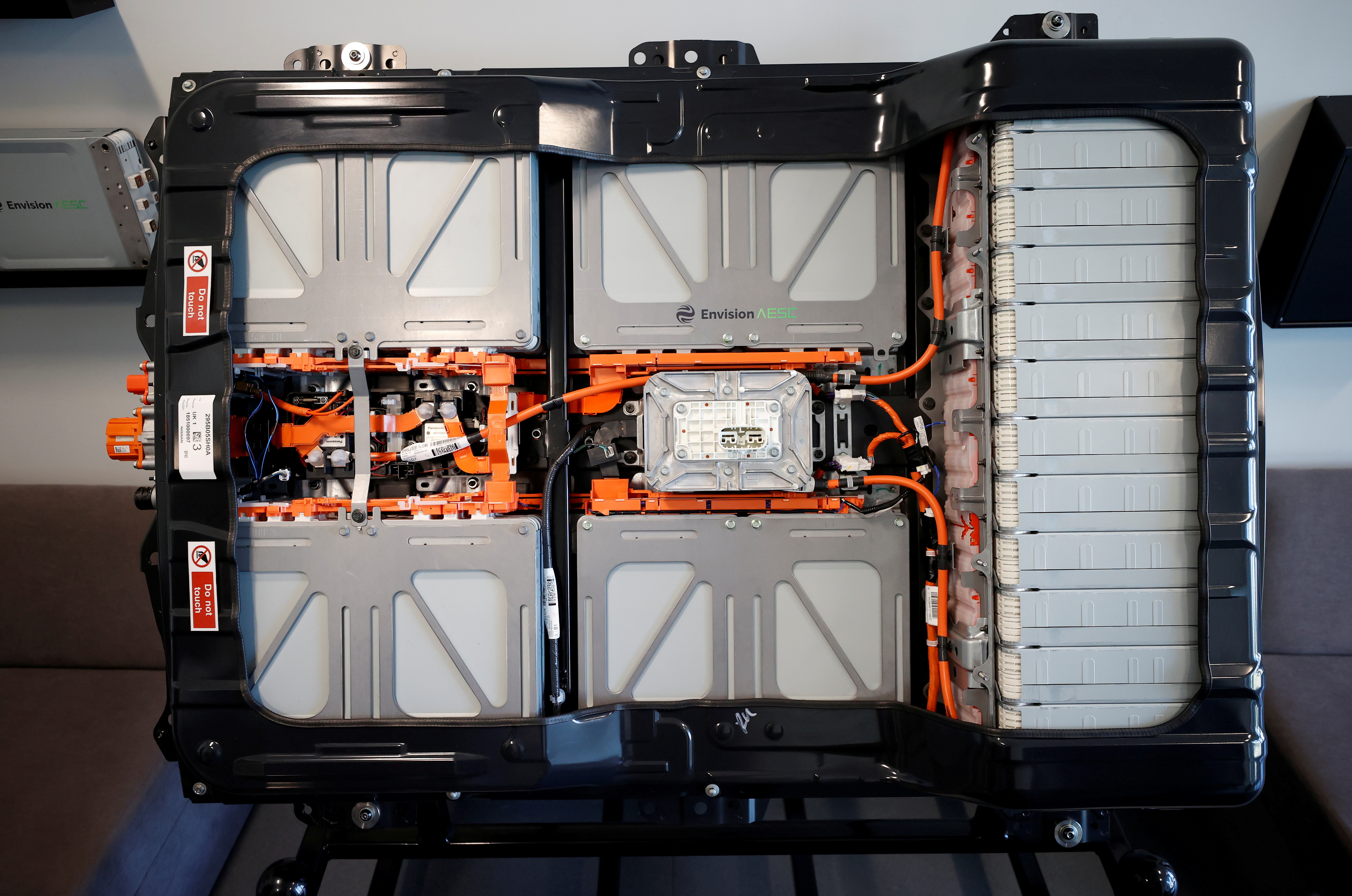 A cross-section of a completed battery for a Nissan Leaf car is seen inside the Envision battery manufacturing plant at Nissan's Sunderland factory, Britain, July 1, 2021. REUTERS/Phil Noble -/File Photo
