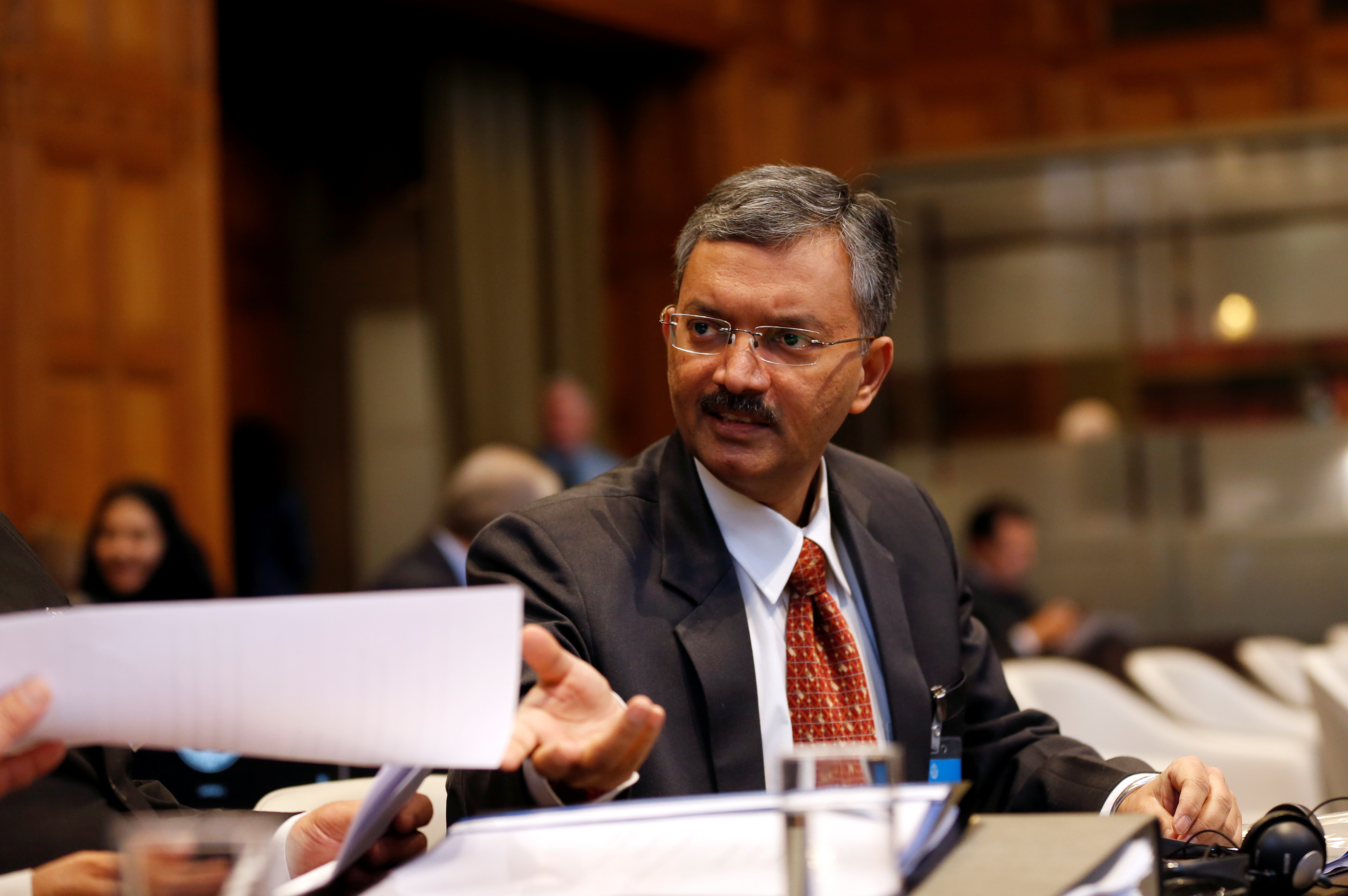 Deepak Mittal, joint secretary of Indian Ministry of External Affairs, is seen at the International Court of Justice during the final hearing of the Kulbhushan Jadhav case in The Hague, the Netherlands, February 18, 2019. REUTERS/Eva Plevier