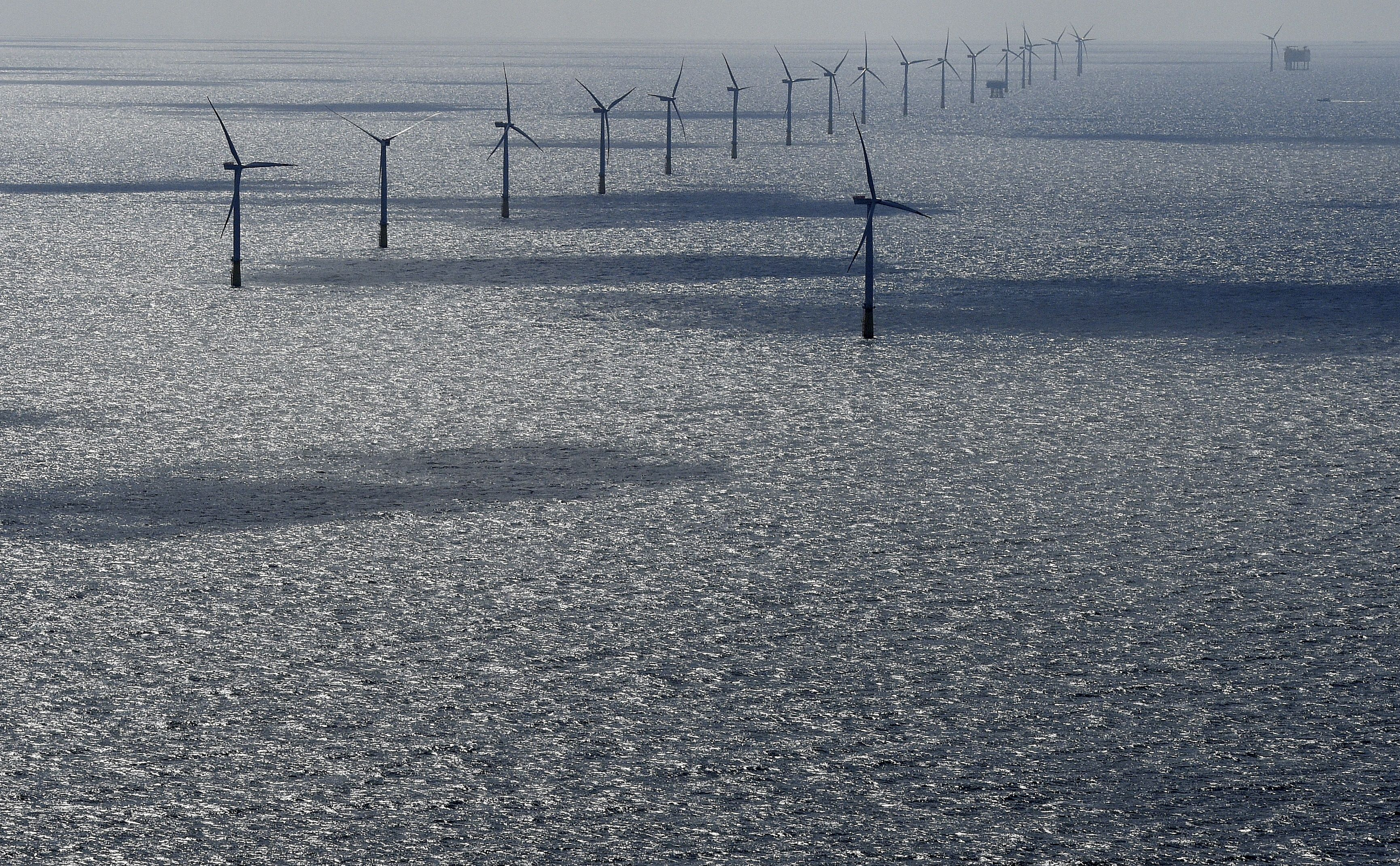Windmills are seen in the