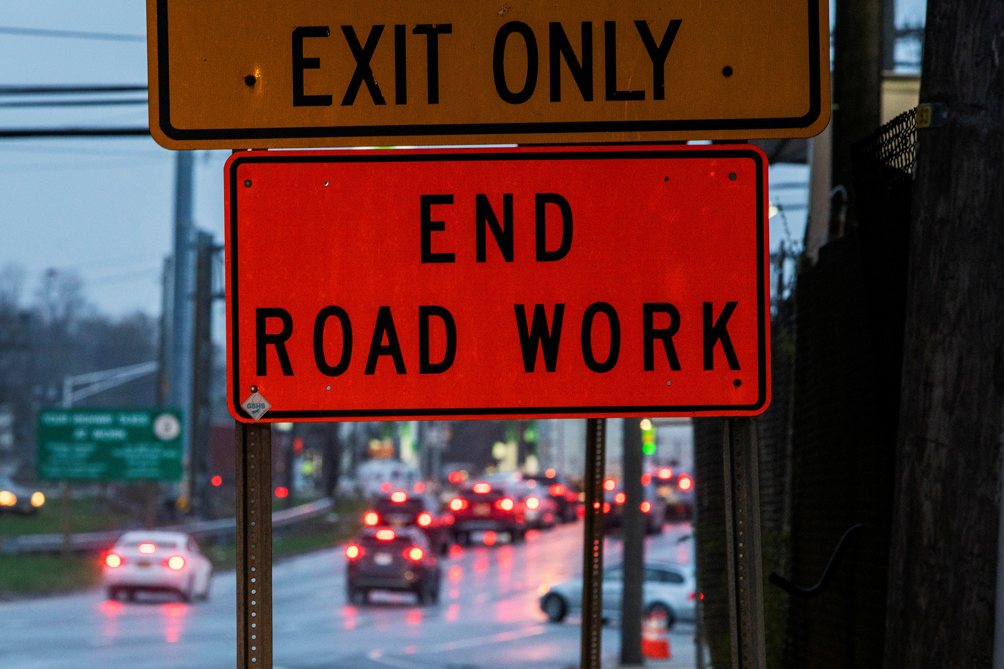 Cars drive along Tonnele Ave at the end of a road work in Union City, New Jersey, U.S. March 31, 2021. REUTERS/Eduardo Munoz