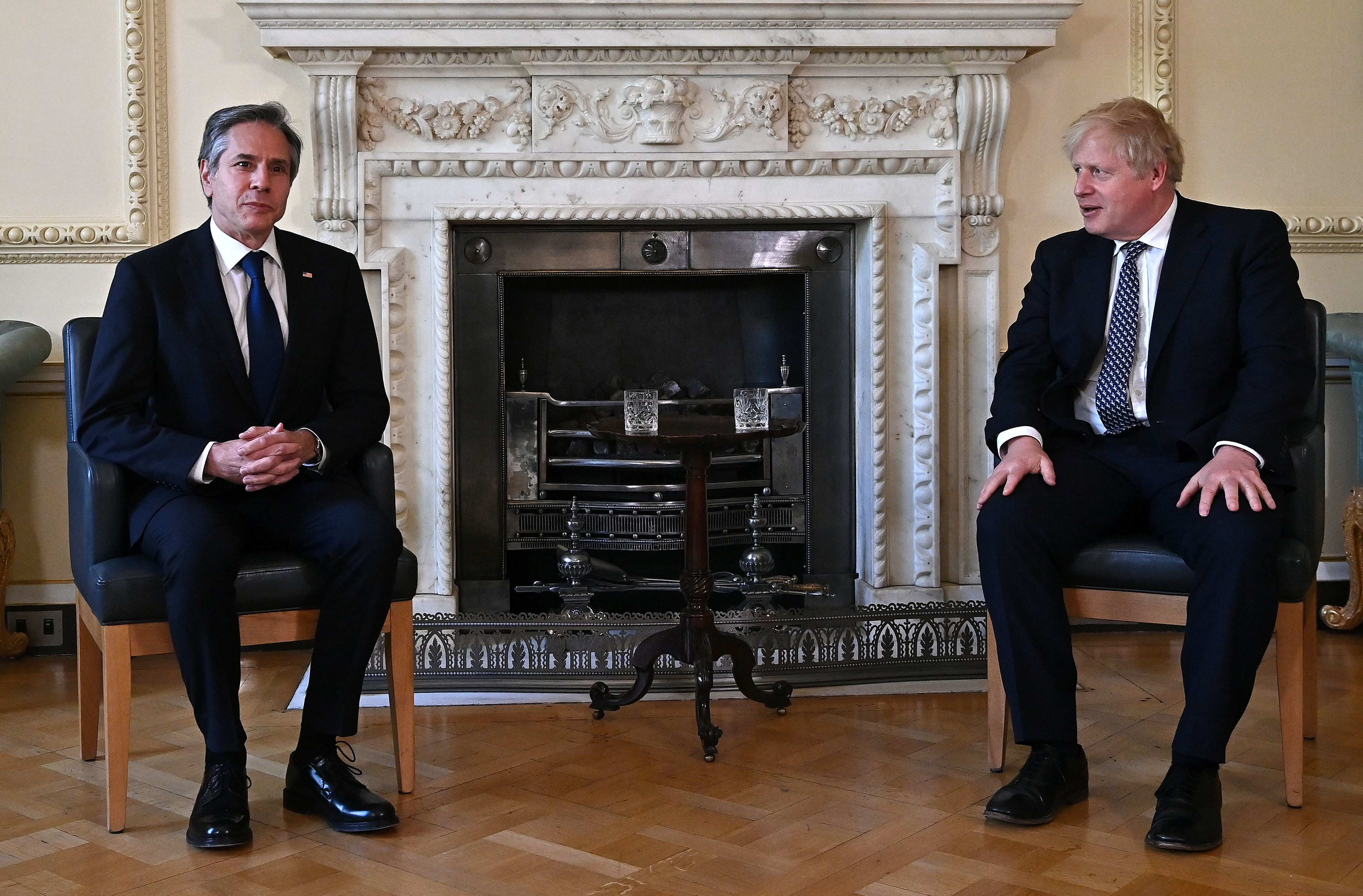 Britain's Prime Minister Boris Johnson meets U.S. Secretary of State Antony Blinken, for a bilateral meeting at the G7 foreign ministers meeting in London, Britain May 4, 2021. Ben Stansall/Pool via REUTERS