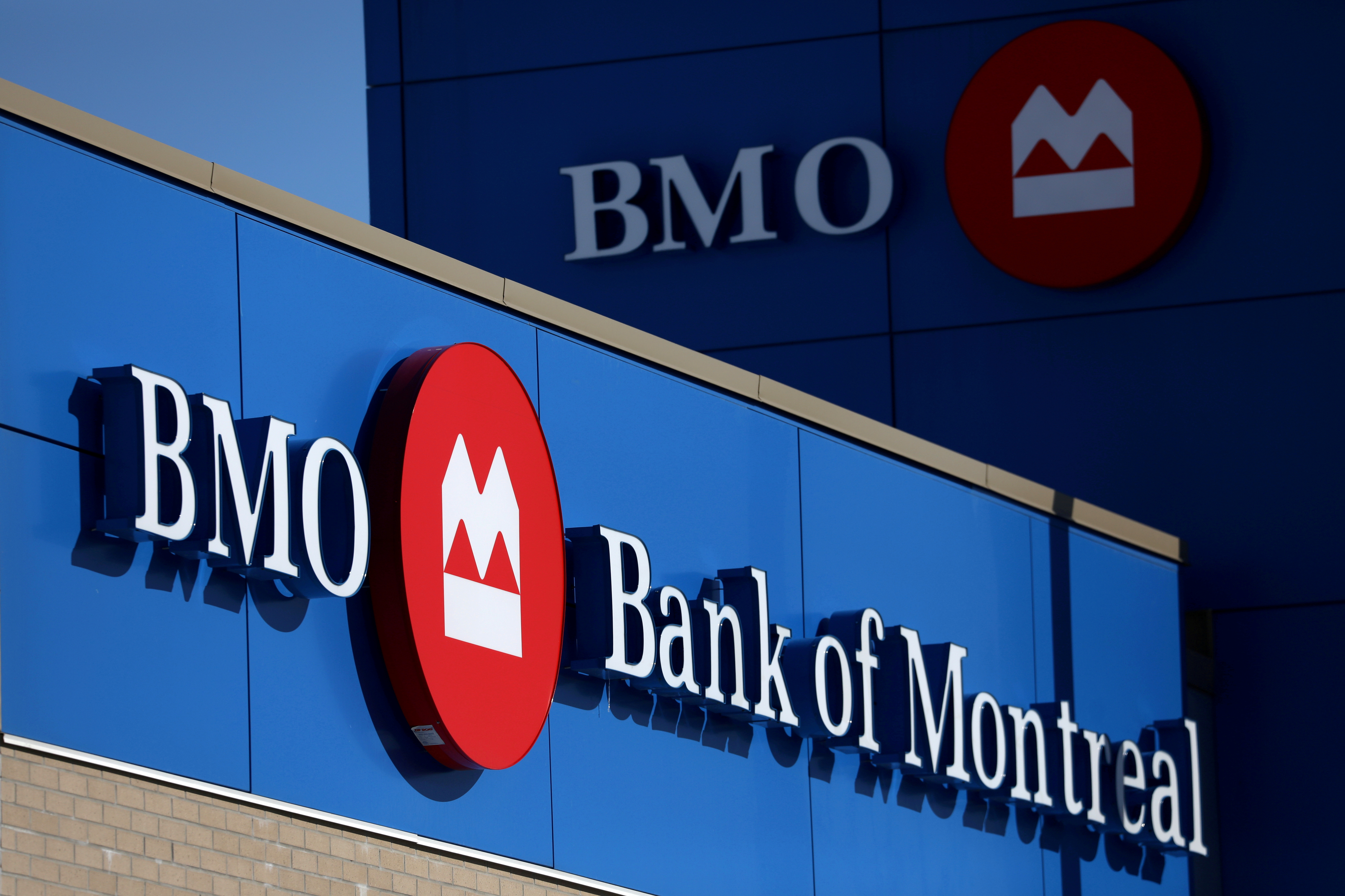 A Bank of Montreal (BMO) logo is seen outside of a branch in Ottawa, Ontario, Canada, February 14, 2019. REUTERS/Chris Wattie/File Photo