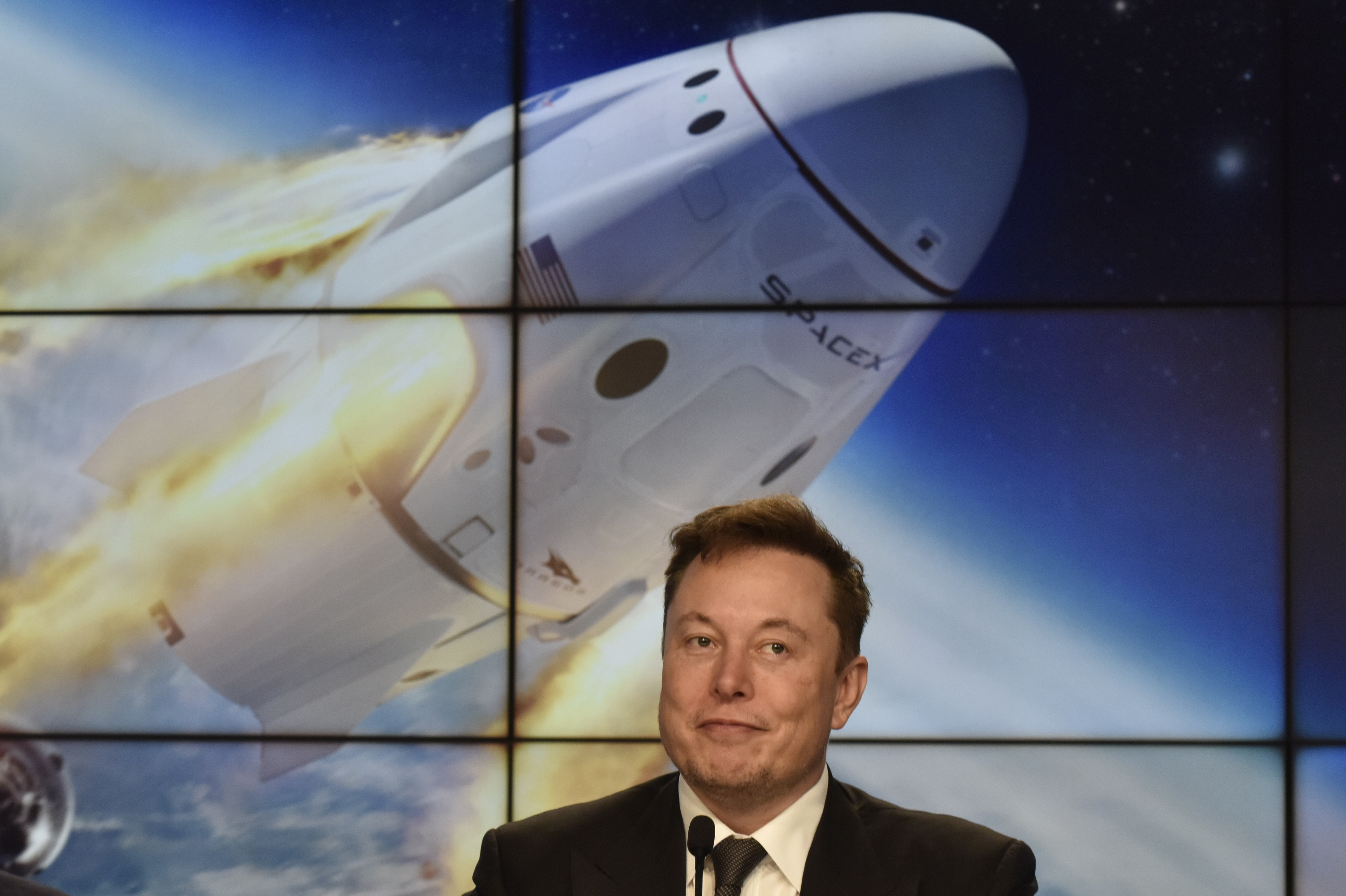 SpaceX founder and chief engineer Elon Musk attends a post-launch news conference to discuss the  SpaceX Crew Dragon astronaut capsule in-flight abort test at the Kennedy Space Center in Cape Canaveral, Florida, U.S. January 19, 2020. REUTERS/Steve Nesius
