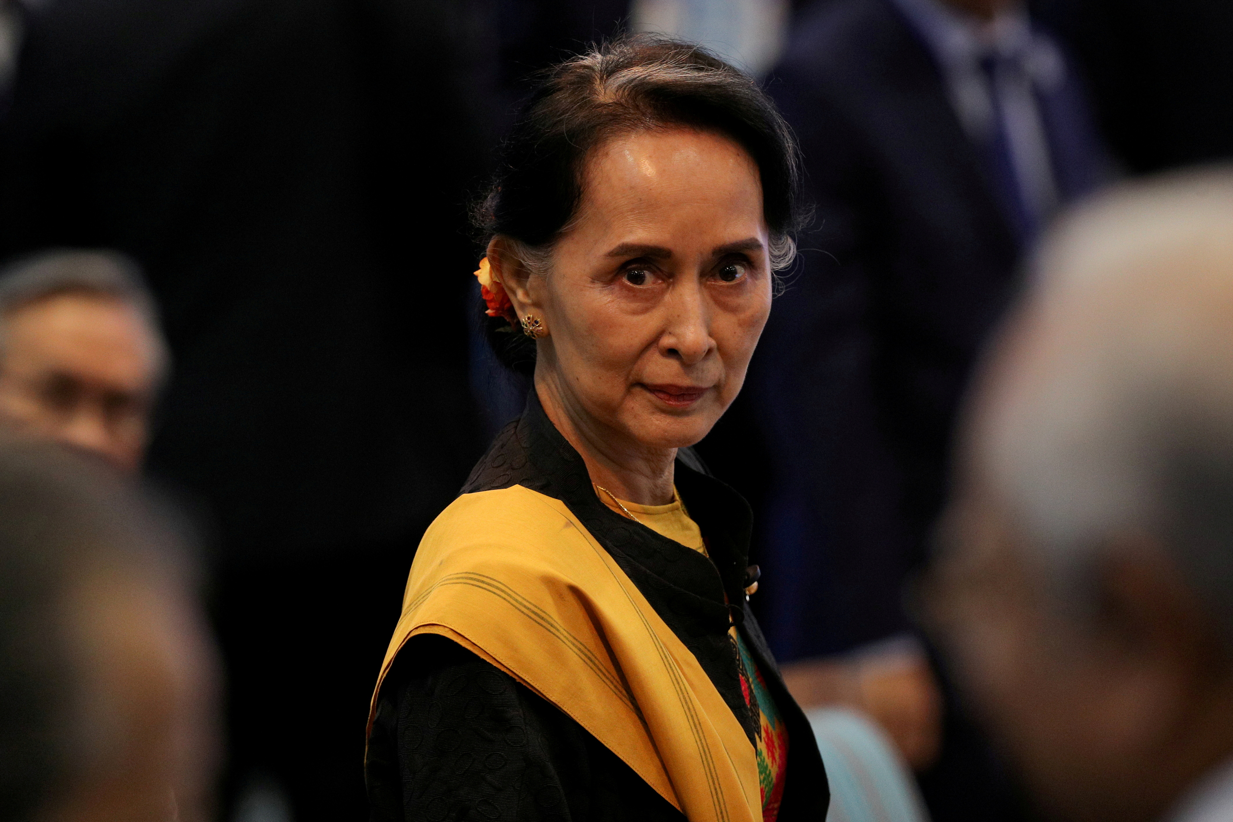 Myanmar State Counselor Aung San Suu Kyi attends the opening session of the 31st ASEAN Summit in Manila, Philippines, November 13, 2017. REUTERS/Athit Perawongmetha