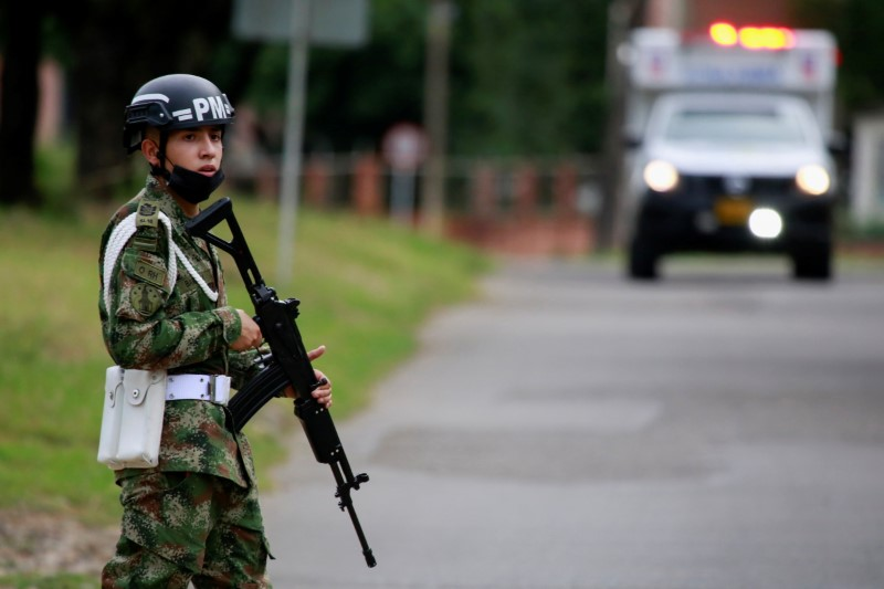 A soldier patrols around a military battalion where a car bomb exploded, according to authorities, in Cucuta, Colombia June 15, 2021. REUTERS/Stringer