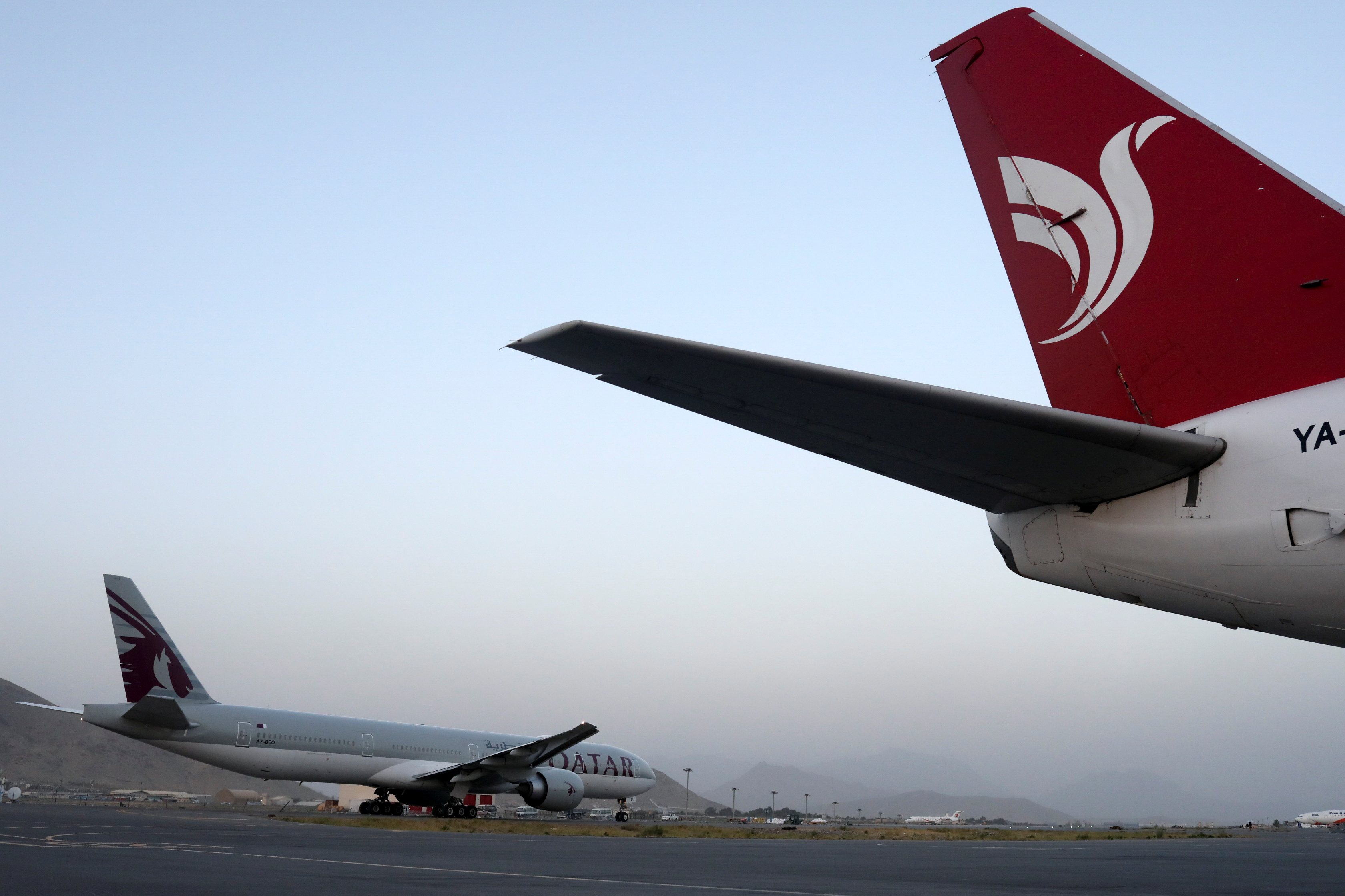 The first international flight from Kabul since the withdrawal of U.S. troops from Afghanistan taxis at the international airport in Kabul, Afghanistan, September 9, 2021. WANA (West Asia News Agency) via REUTERS