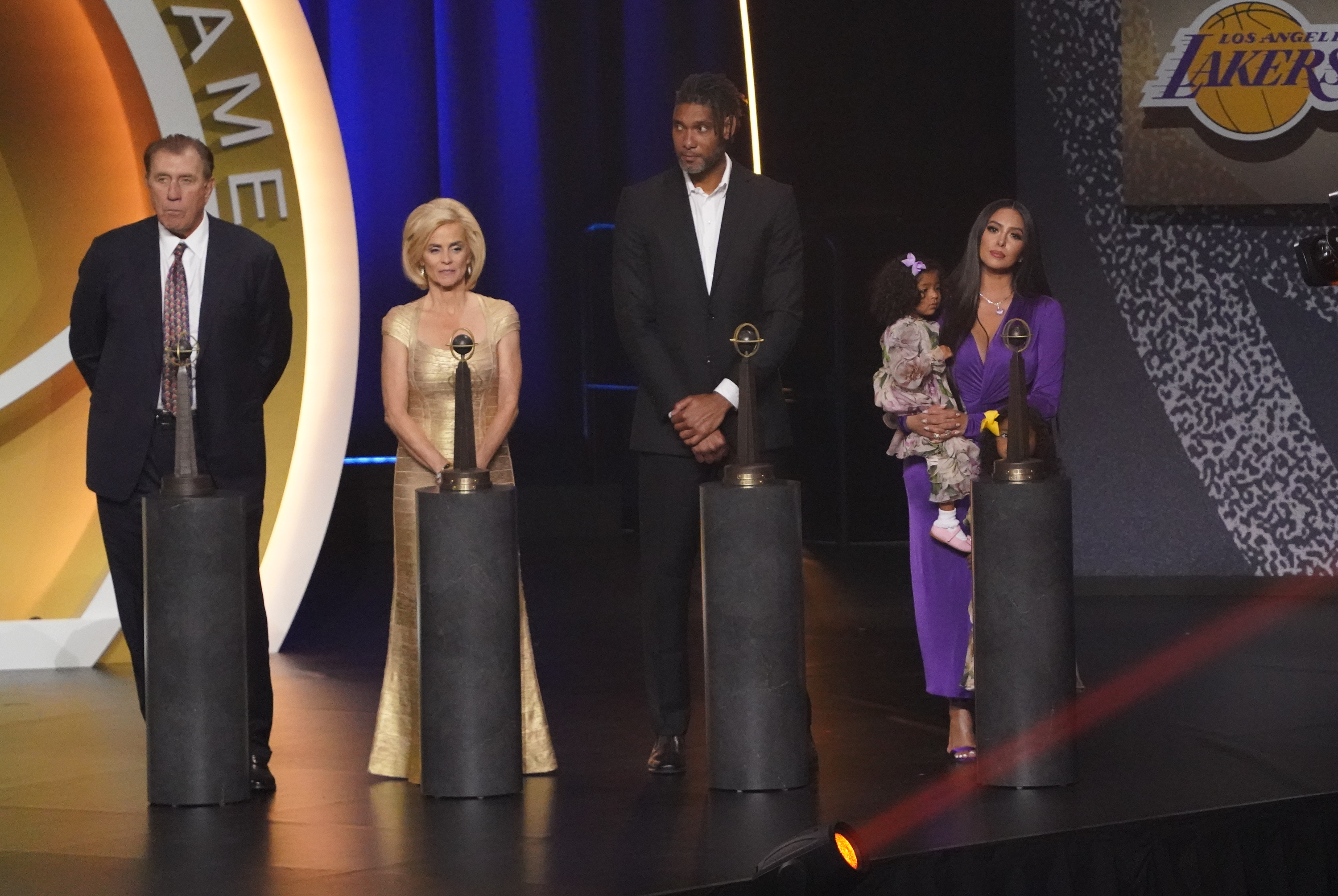 May 15, 2021; Uncasville, Connecticut, USA;  (L to R) Class of 2020 inductees Rudy Tomjanovich, Kim Mulkey, Tim Duncan and Vanessa Bryant, wife of the late Kobe Bryant on stage after the Naismith Memorial Basketball Hall of Fame Enshrinement at Mohegan Sun Arena. Mandatory Credit: David Butler II-USA TODAY Sports