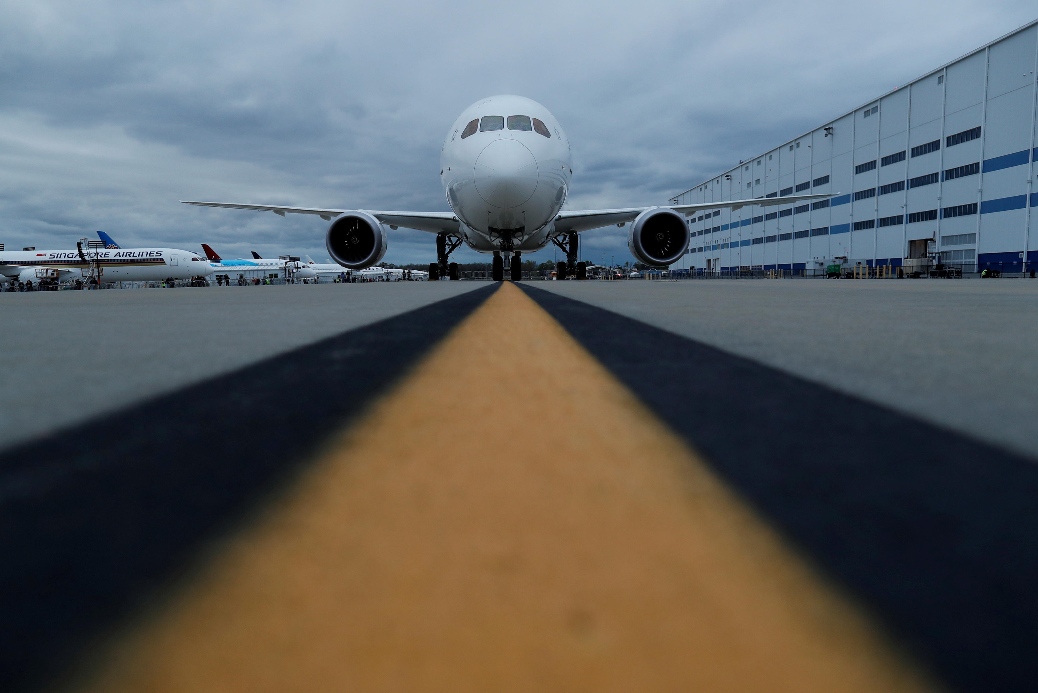 The Boeing 787-10 Dreamliner sits on the tarmac before a delivery ceremony to Singapore Airlines at the Boeing South Carolina Plant in North Charleston, South Carolina, United States March 25, 2018.  REUTERS/Randall Hill