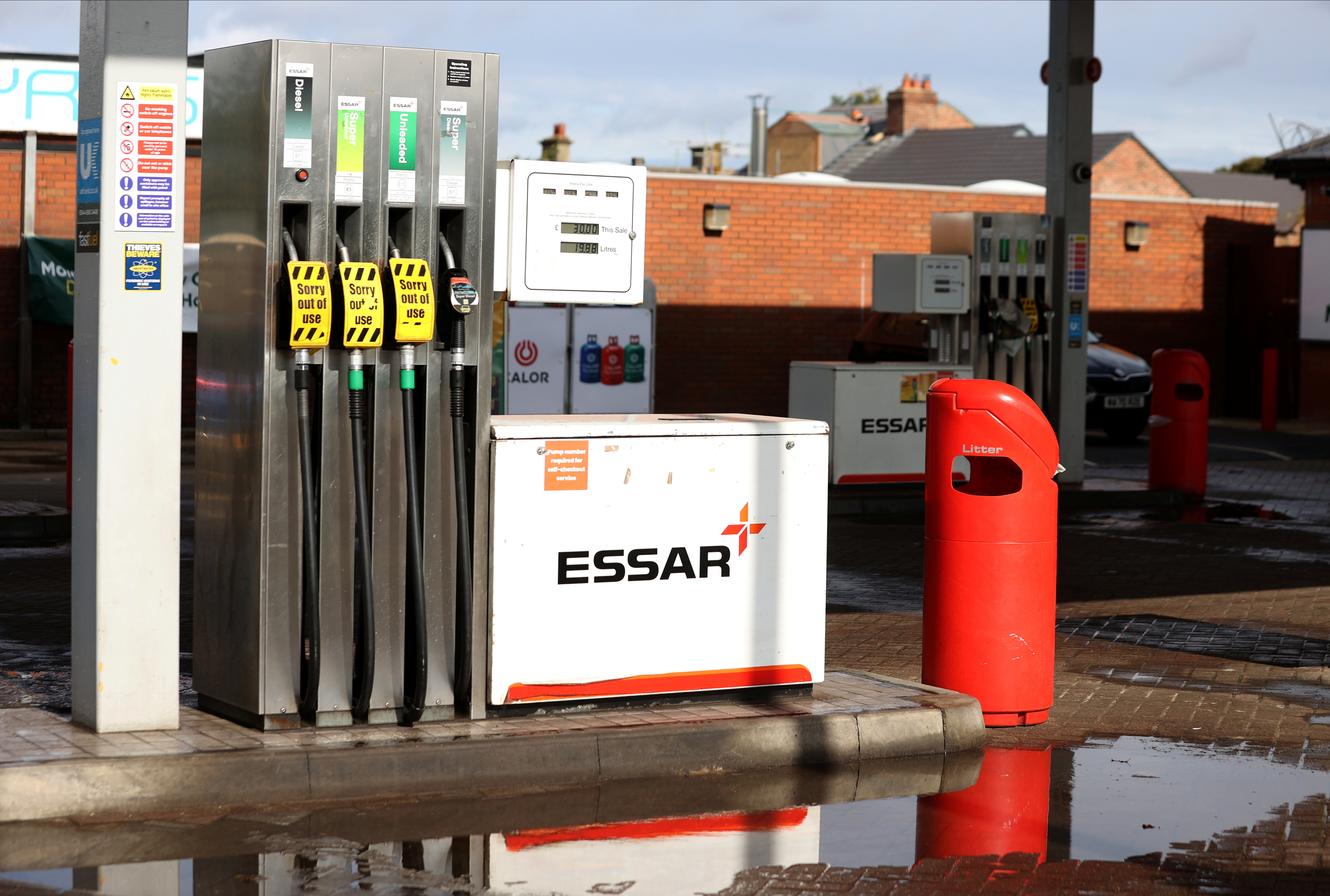 An Essar petrol station with pumps showing no fuel in Stanley, County Durham, Britain, September 27, 2021.  REUTERS/Lee Smith