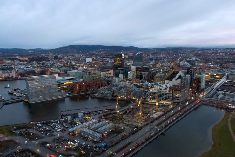 A general view of the cityscape with the new Munch Museum, also called Lambda, to the left, in the Bjorvika neighbourhood in Oslo, Norway November 17, 2020. NTB SCANPIX/Cornelius Poppe via REUTERS /File Photo
