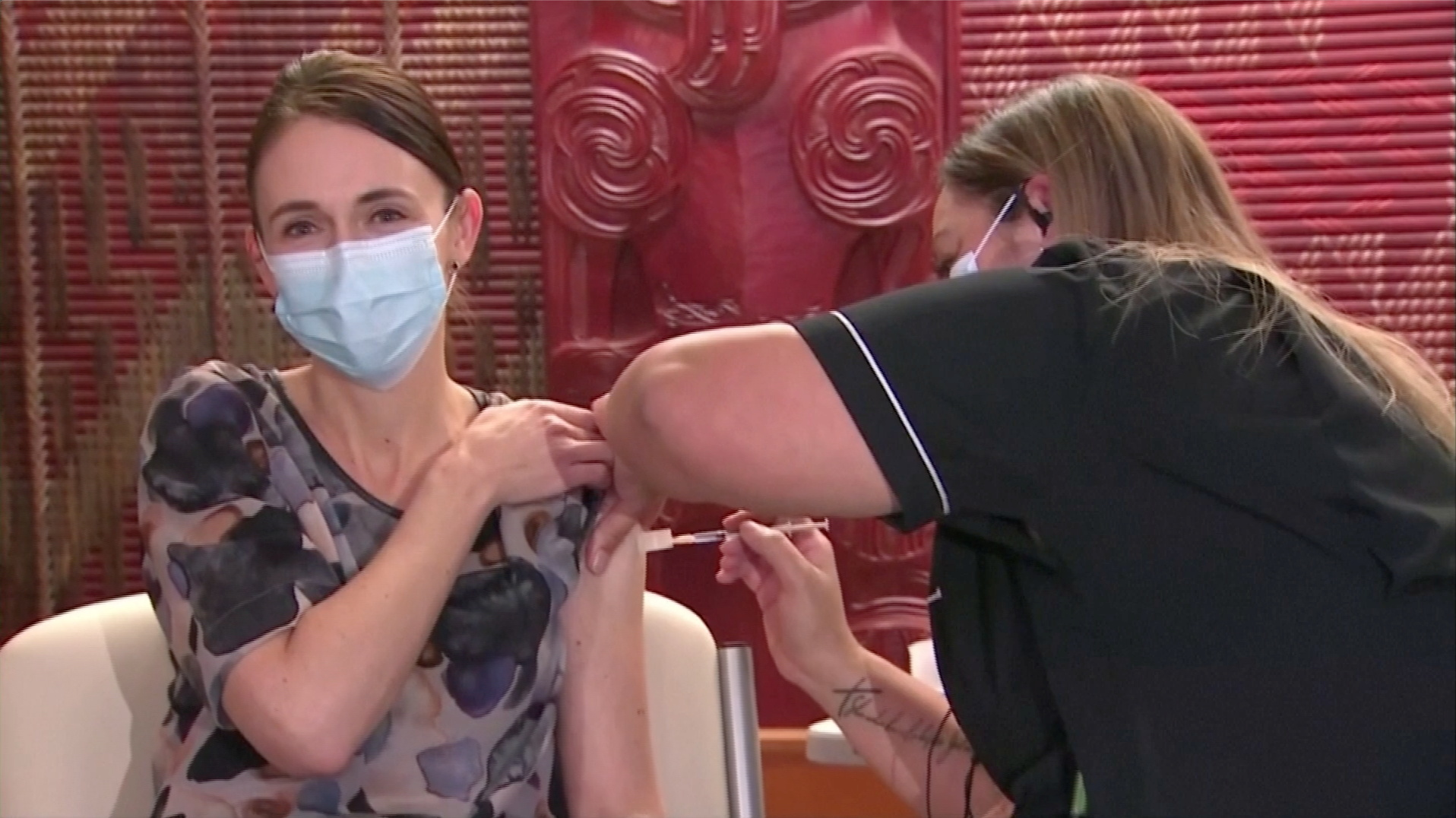 New Zealand's Prime Minister Jacinda Ardern receives her first dose of the Pfizer coronavirus disease (COVID-19) vaccine at a vaccination centre in Auckland, New Zealand, June 18, 2021, in this still image taken from video. TVNZ / via REUTERS TV
