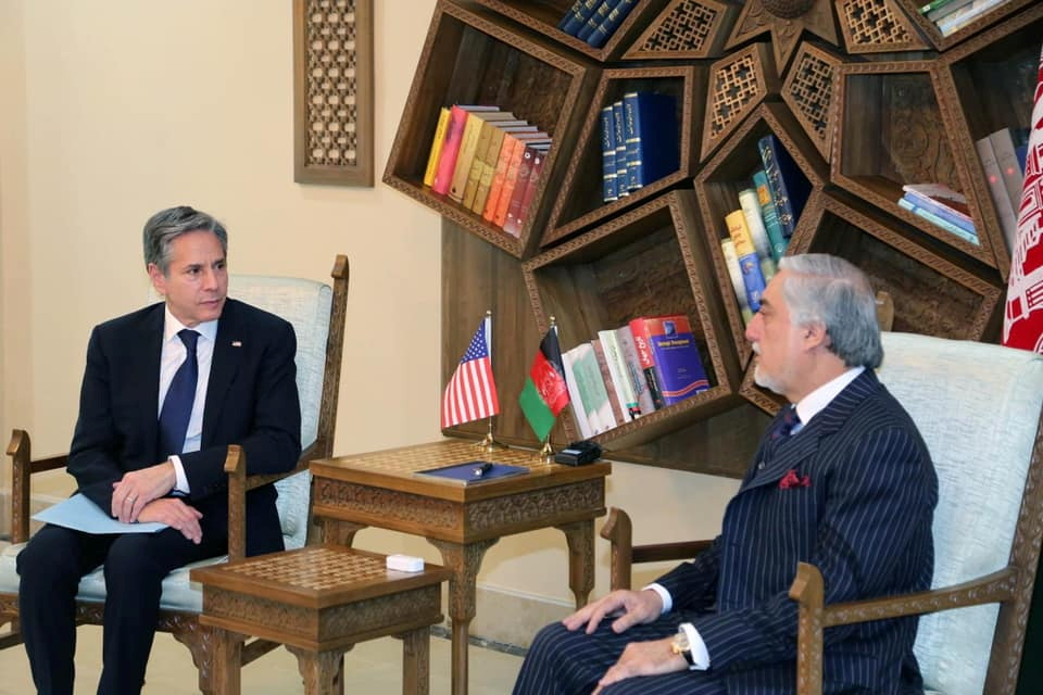 U.S. Secretary of State Antony Blinken, meets with Chairman of the High Council for National Reconciliation Abdullah Abdullah in Kabul, Afghanistan April 15, 2021. High Council for National Reconciliation Press Office/Handout via REUTERS