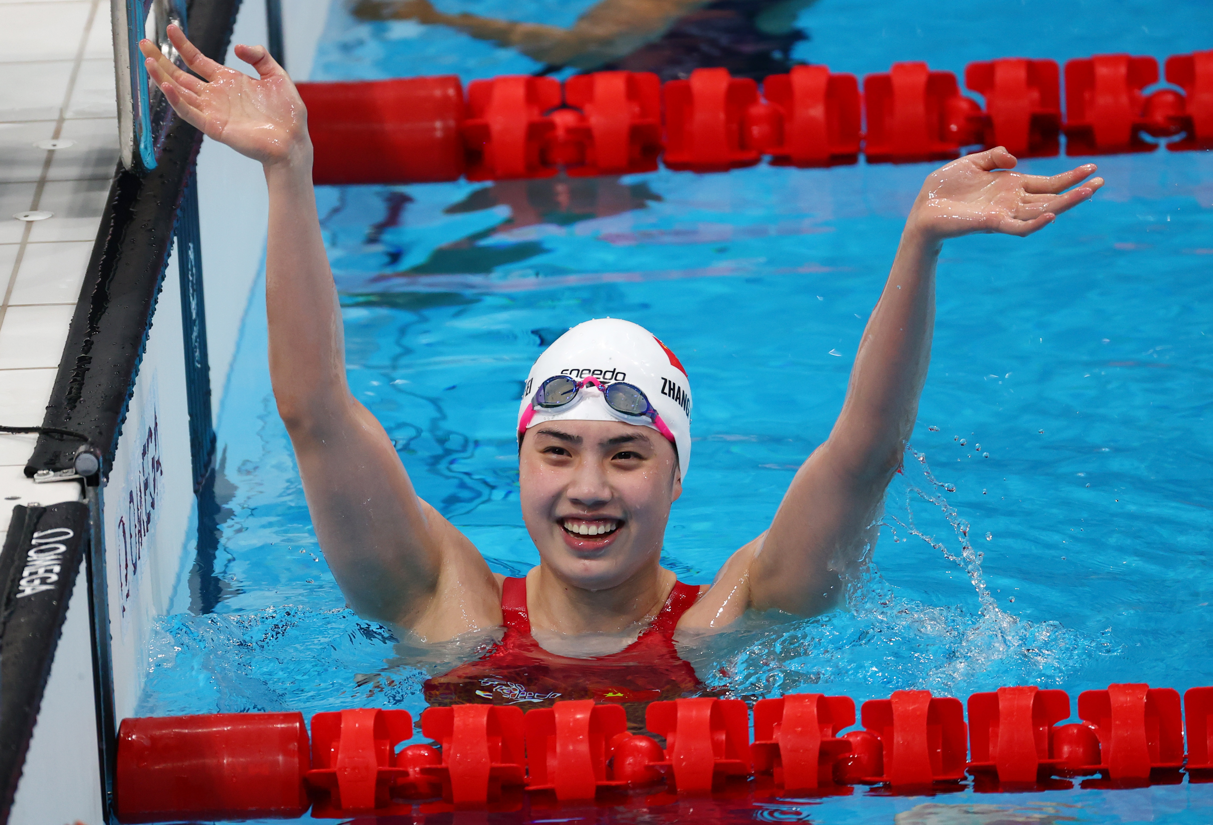 Tokyo 2020 Olympics - Swimming - Women's 200m Butterfly - Final - Tokyo Aquatics Centre - Tokyo, Japan - July 29, 2021. Zhang Yufei of China reacts after setting a new Olympic record REUTERS/Lisi Niesner