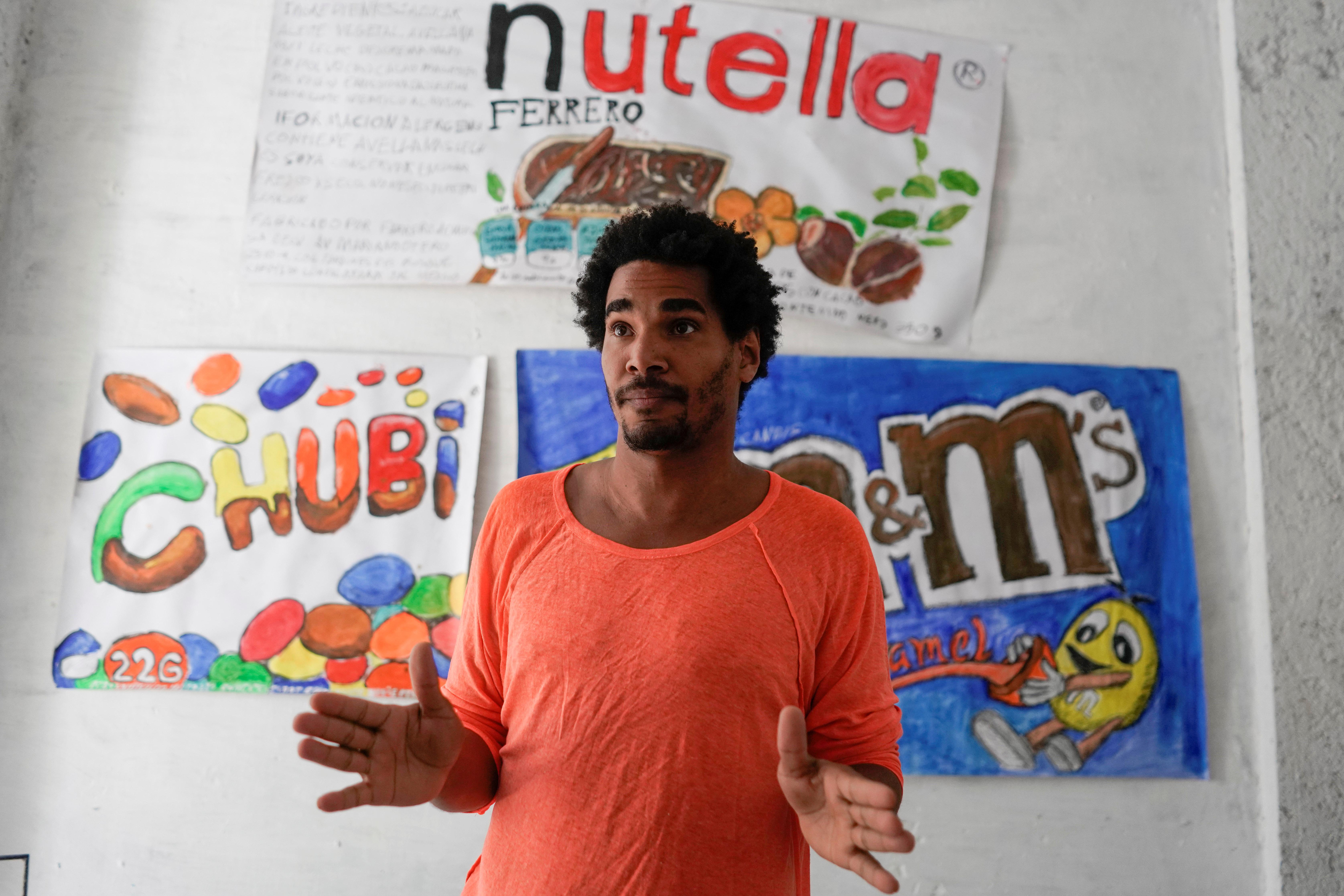 Dissident artist Luis Manuel Otero Alcantara speaks during an interview at the headquarters of San Isidro Movement in Havana, Cuba, April 6, 2021. REUTERS/Alexandre Meneghini