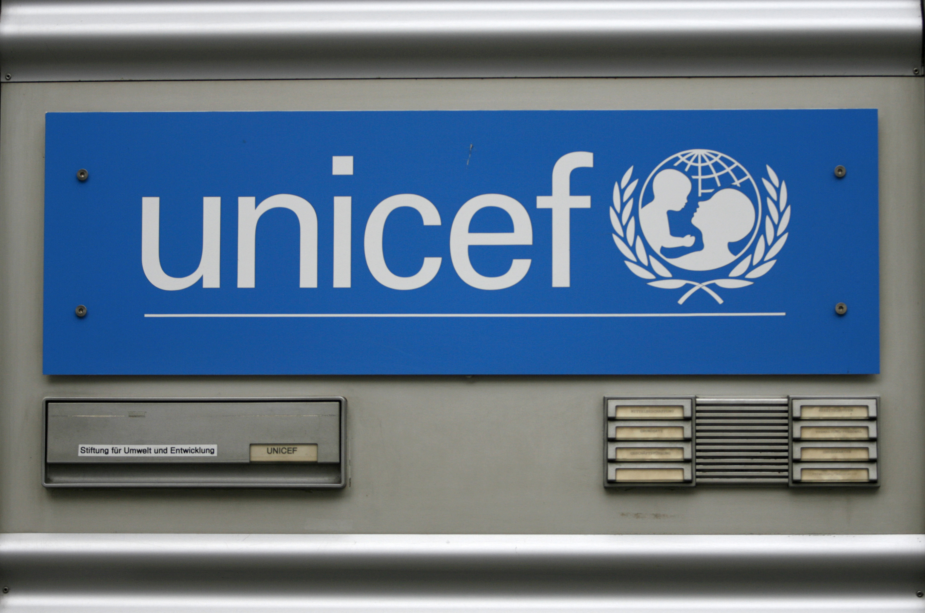 The logo of the United Nations Childrens Fund, UNICEF, is pictured at their German headquarters in Cologne, file. REUTERS/Ina Fassbender