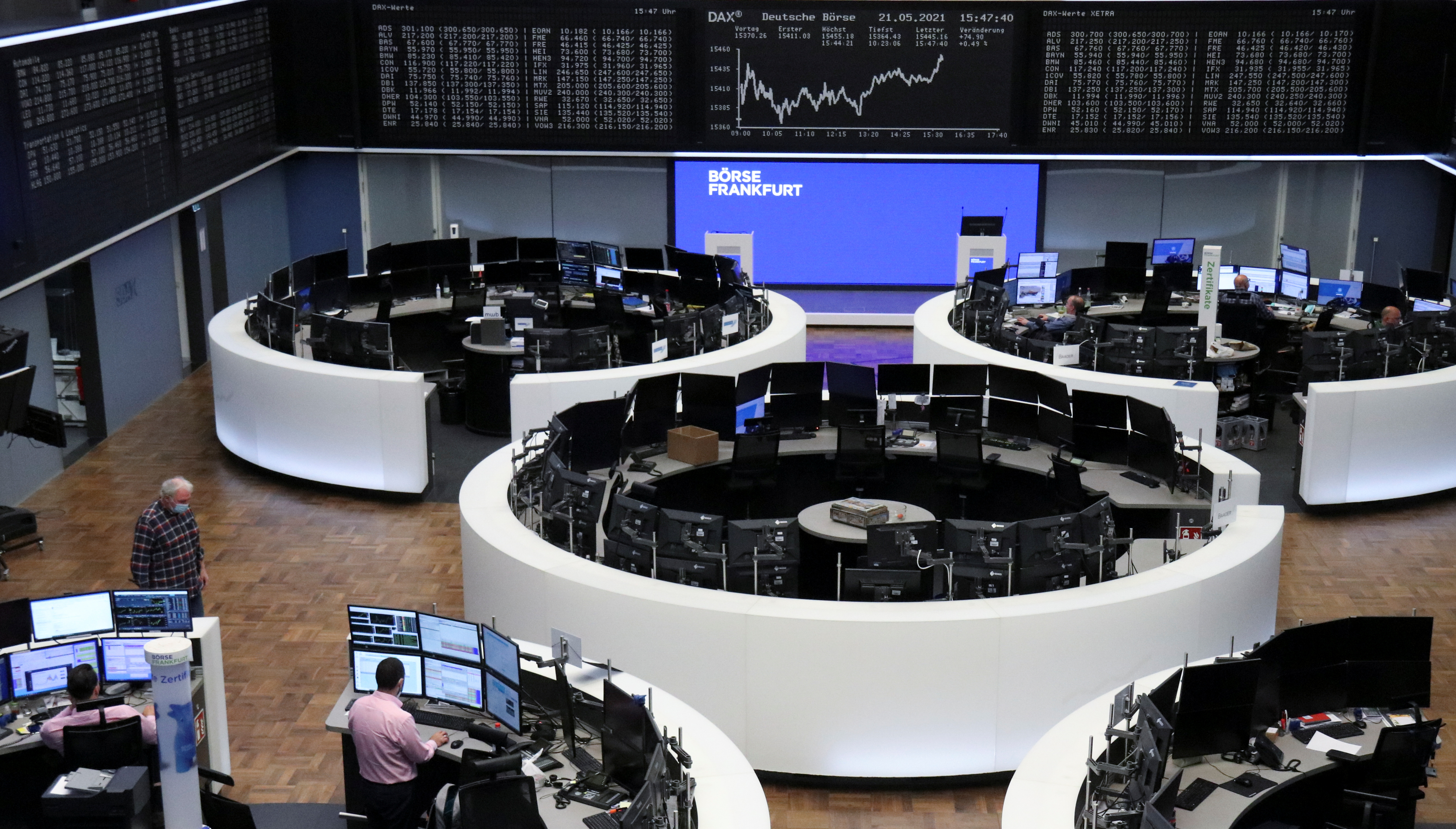 The German share price index DAX graph is pictured at the stock exchange in Frankfurt, Germany, May 21, 2021.    REUTERS/Staff