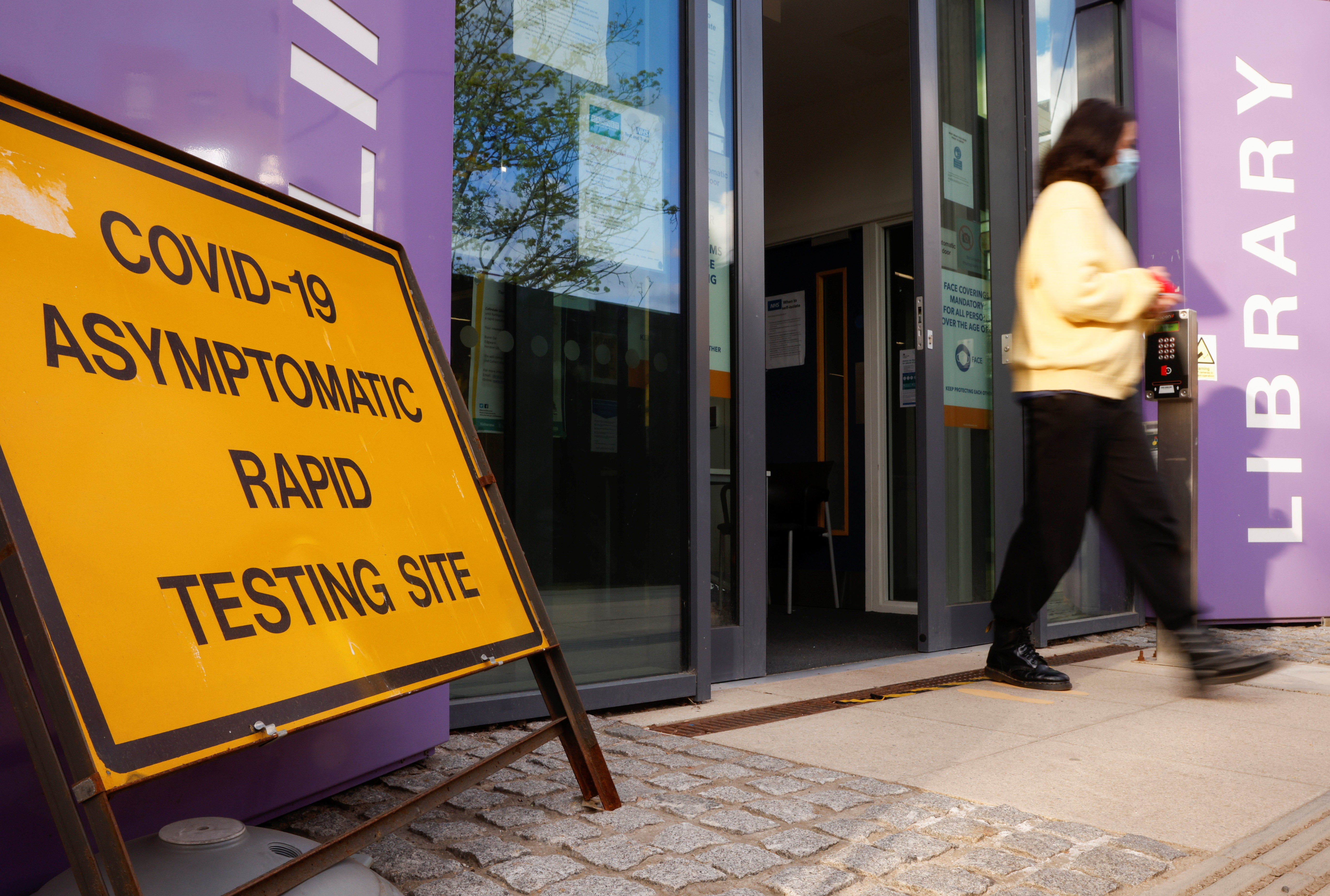 The entrance to a coronavirus disease (COVID-19) testing centre is pictured in Barnet, London, Britain, April 14, 2021. REUTERS/John Sibley