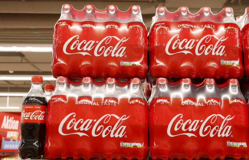 Bottles of Coca-Cola are displayed at a supermarket of Swiss retailer Denner, as the spread of the coronavirus disease (COVID-19) continues, in Glattbrugg, Switzerland June 26, 2020.   REUTERS/Arnd Wiegmann/File Photo