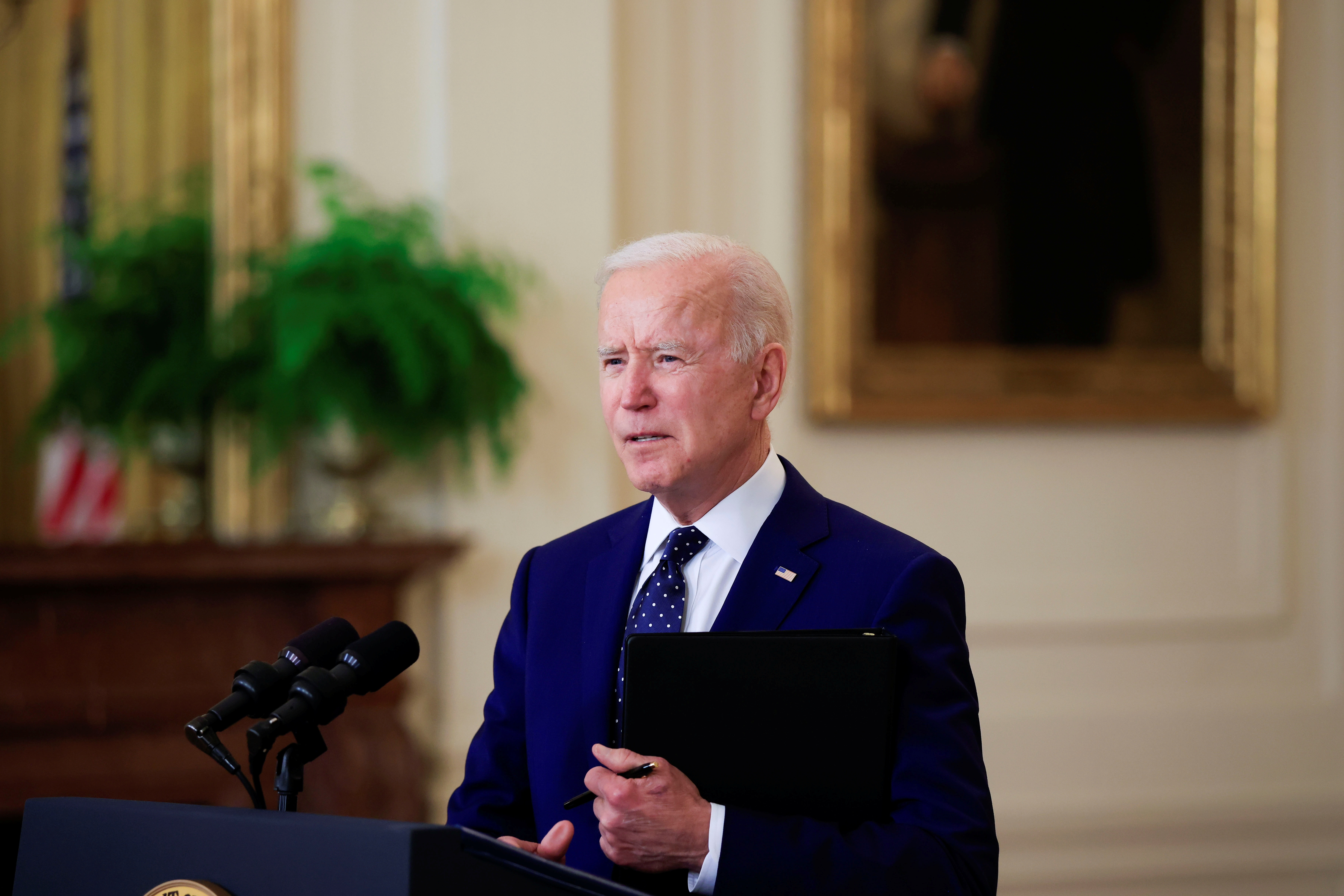 U.S. President Joe Biden delivers remarks on Russia in the East Room at the White House in Washington, U.S., April 15, 2021. REUTERS/Tom Brenner