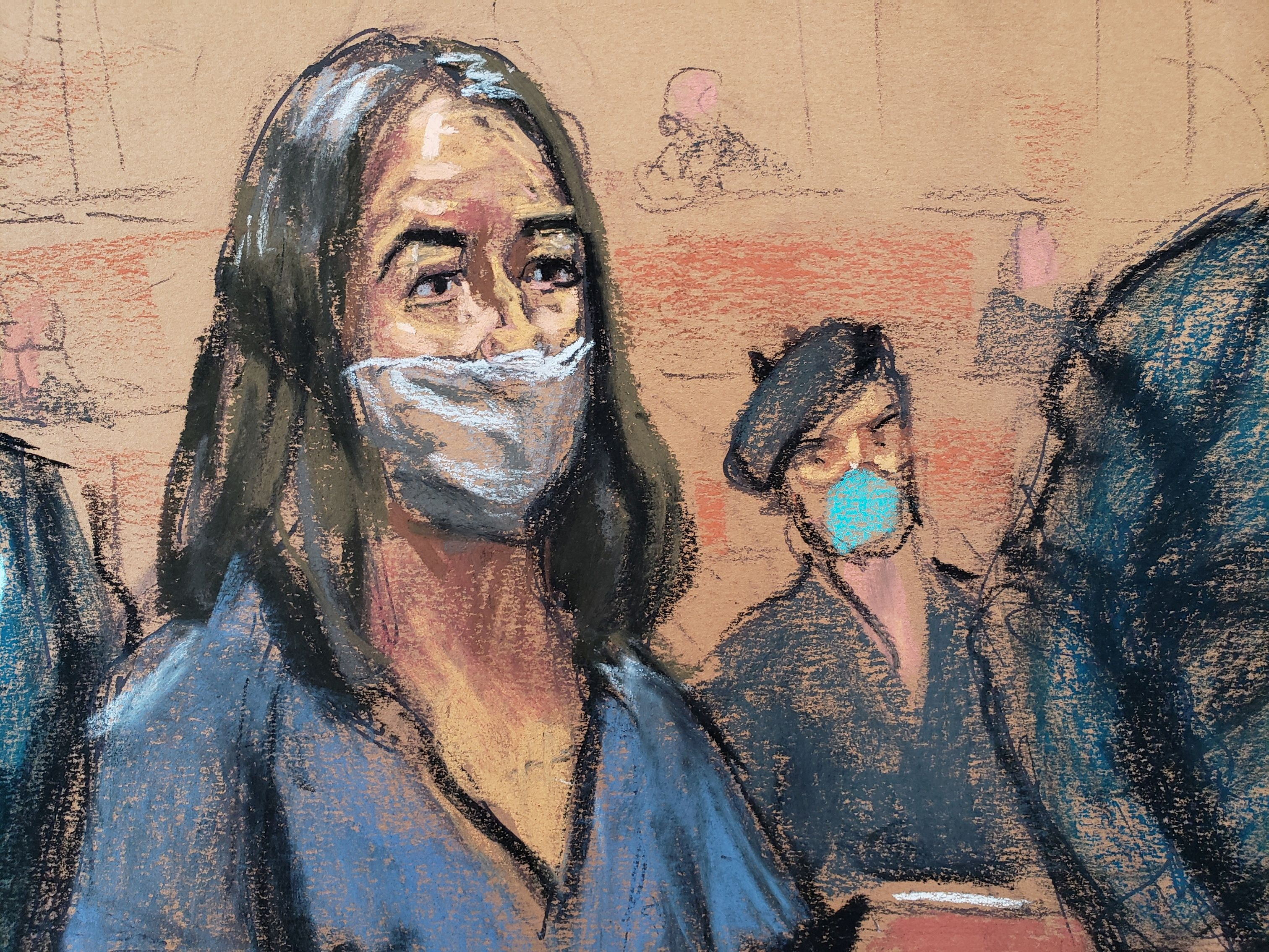 British socialite Ghislaine Maxwell appears during her arraignment hearing on a new indictment at Manhattan Federal Court in New York City, New York, U.S. April 23, 2021, in this courtroom sketch. REUTERS/Jane Rosenberg