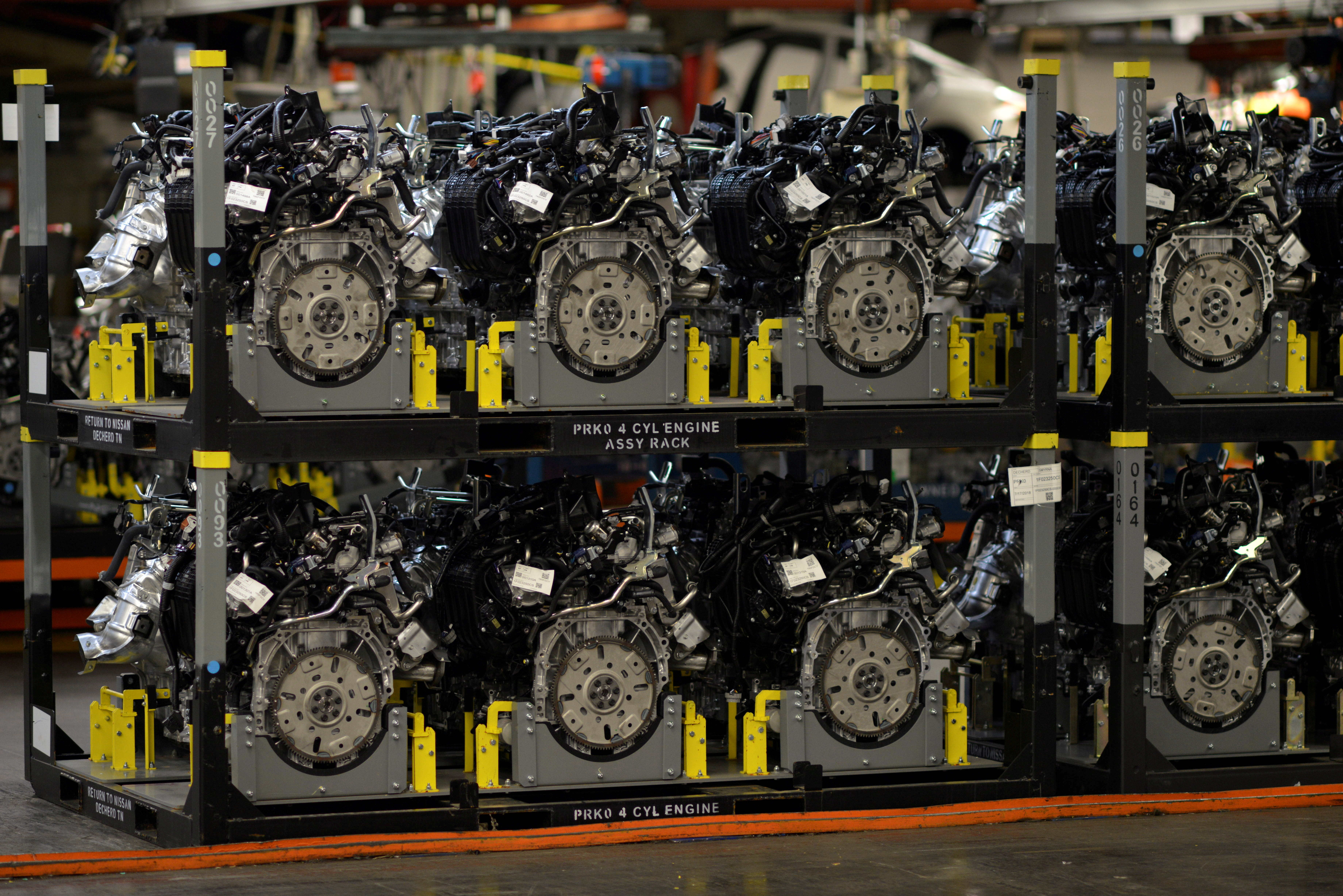 Pre assembled engines are stacked and ready for installation at Nissan Motor Co's automobile manufacturing plant in Smyrna, Tennessee, U.S., August 23, 2018. REUTERS/William DeShazer/File Photo